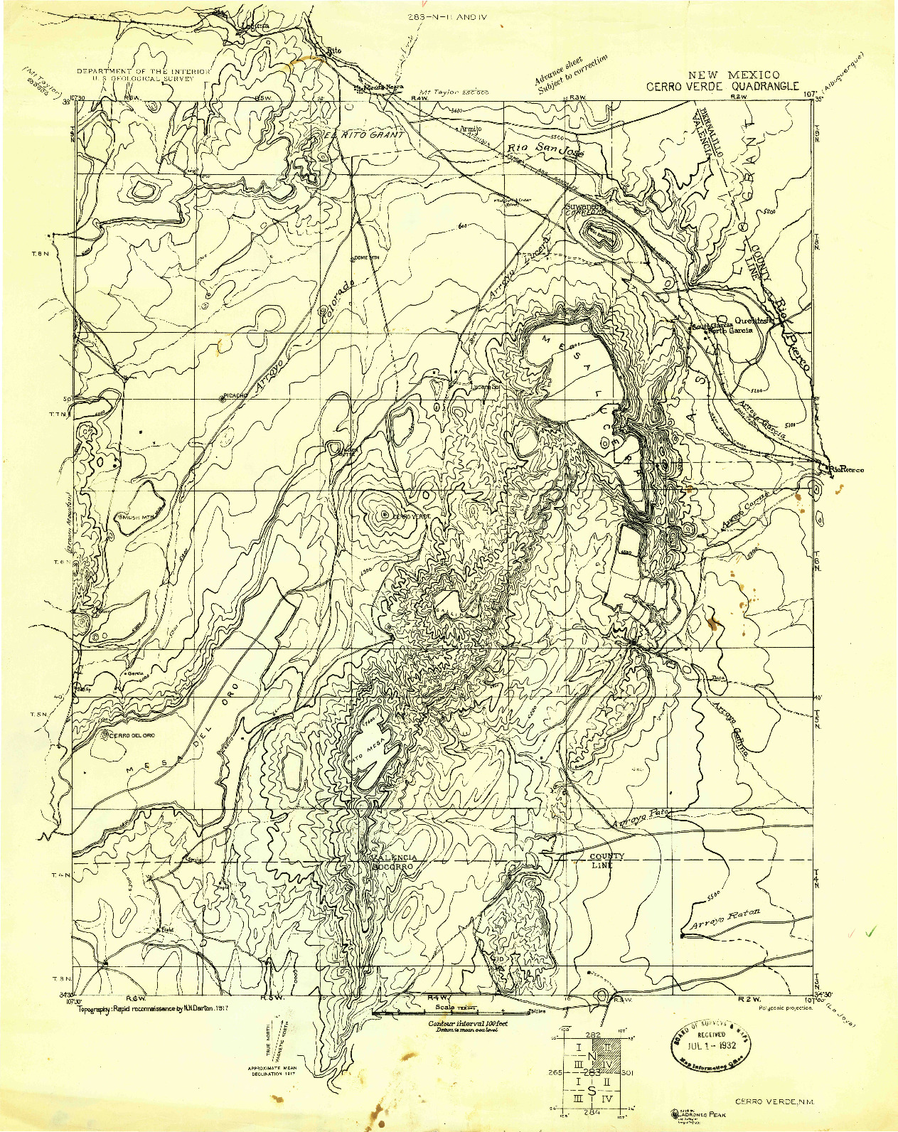USGS 1:125000-SCALE QUADRANGLE FOR CERRO VERDE, NM 1917