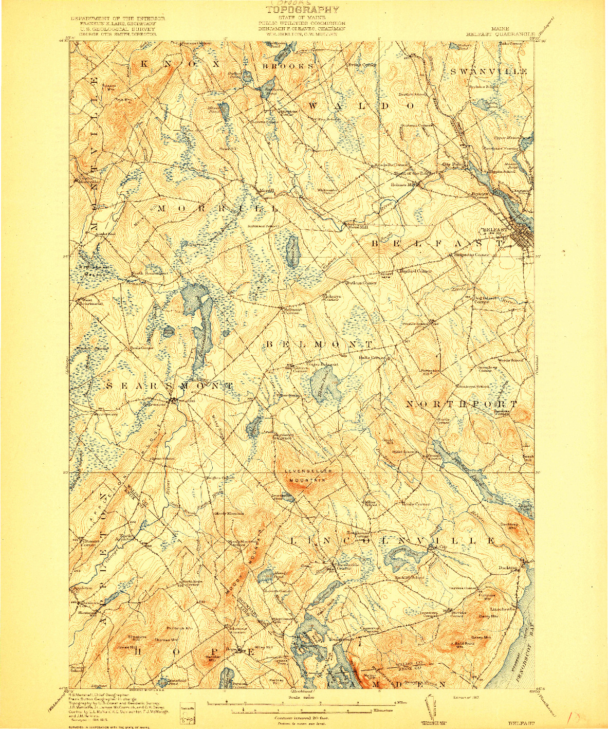 USGS 1:62500-SCALE QUADRANGLE FOR BELFAST, ME 1917