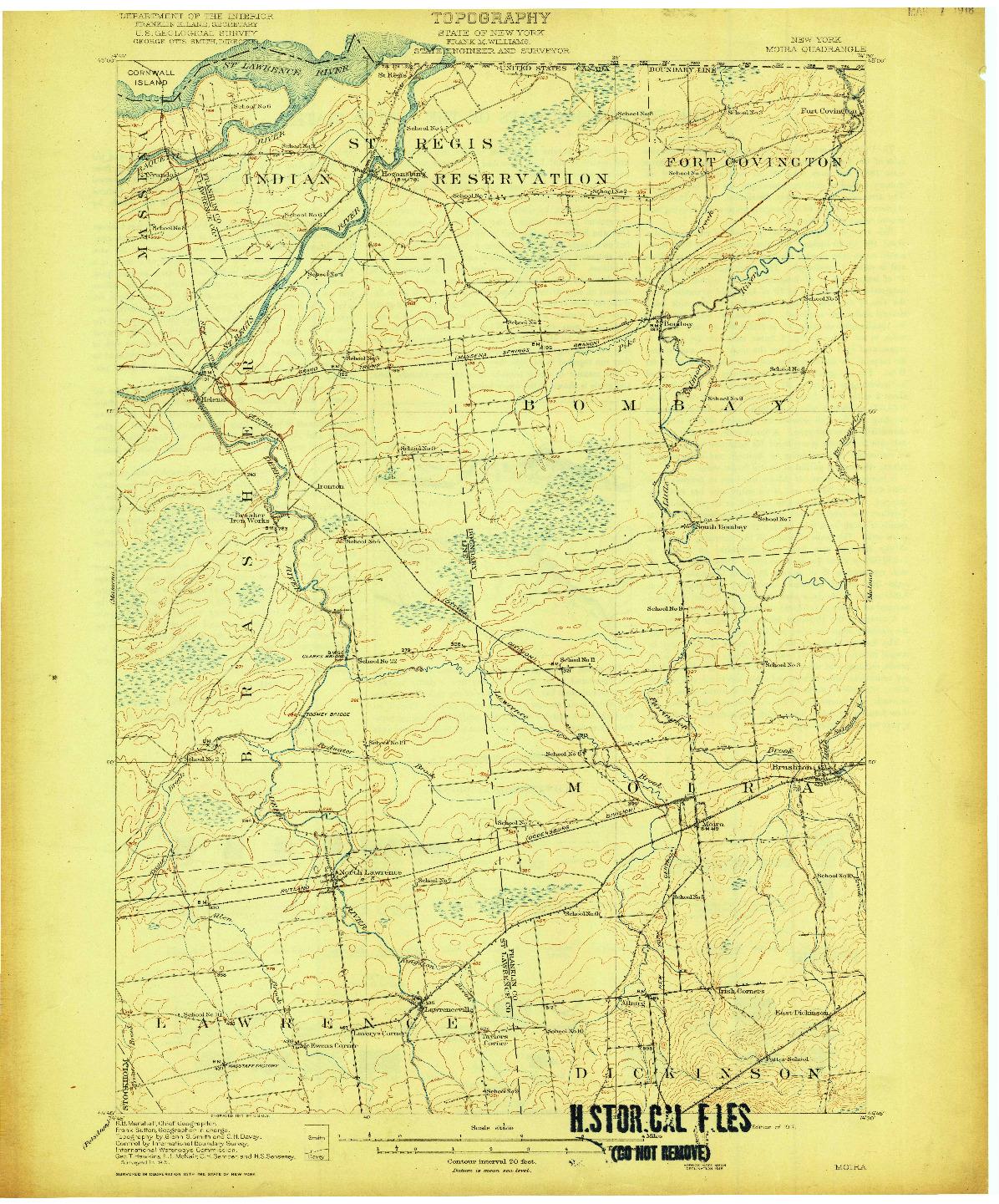 USGS 1:62500-SCALE QUADRANGLE FOR MOIRA, NY 1917