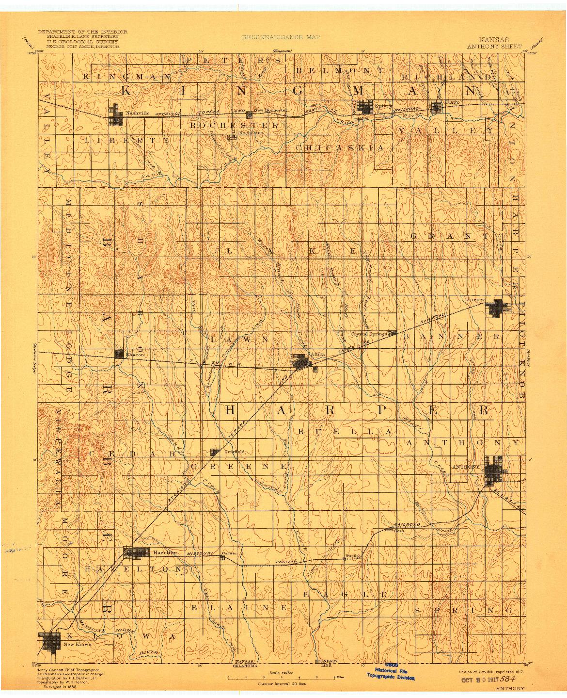 USGS 1:125000-SCALE QUADRANGLE FOR ANTHONY, KS 1891