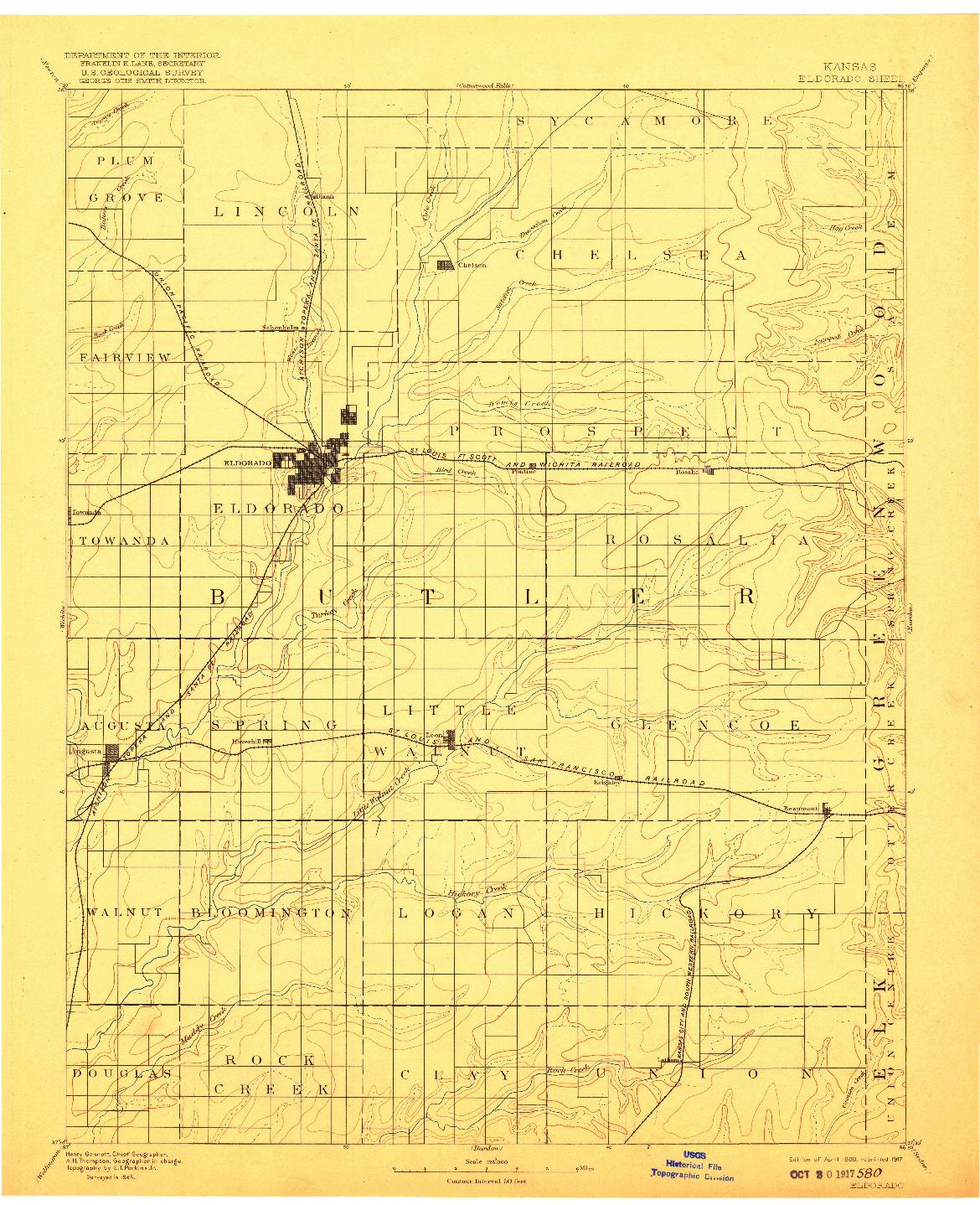 USGS 1:125000-SCALE QUADRANGLE FOR ELDORADO, KS 1888
