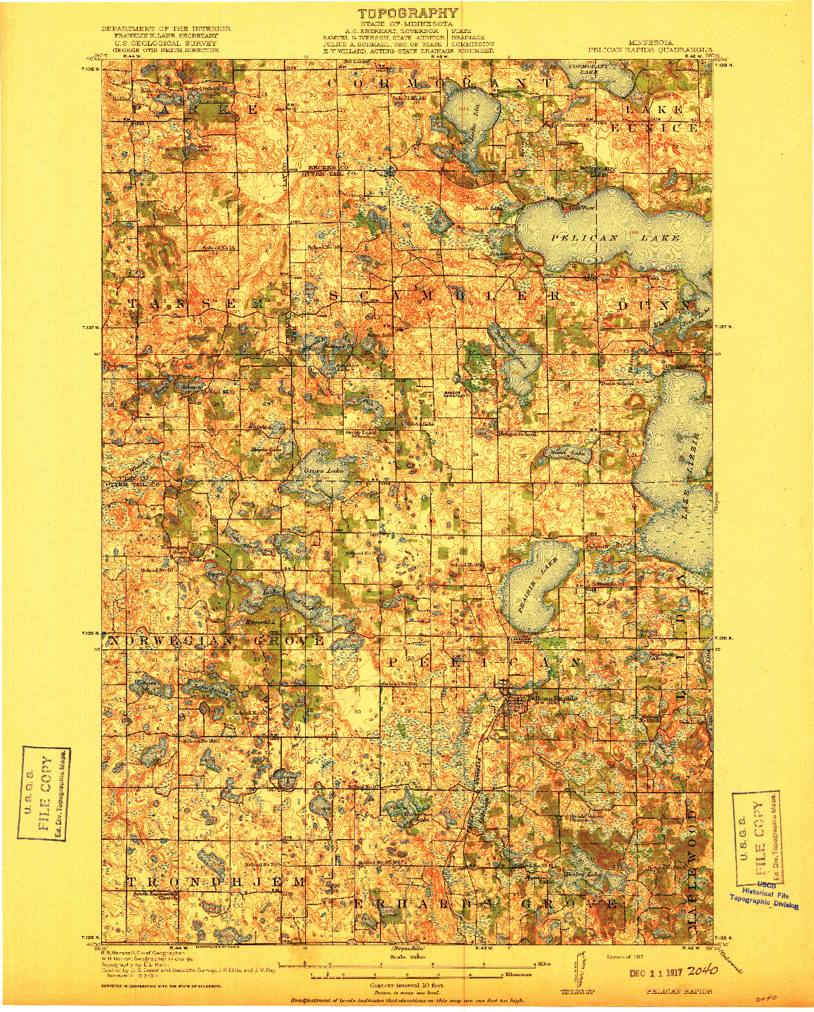 USGS 1:62500-SCALE QUADRANGLE FOR PELICAN RAPIDS, MN 1917