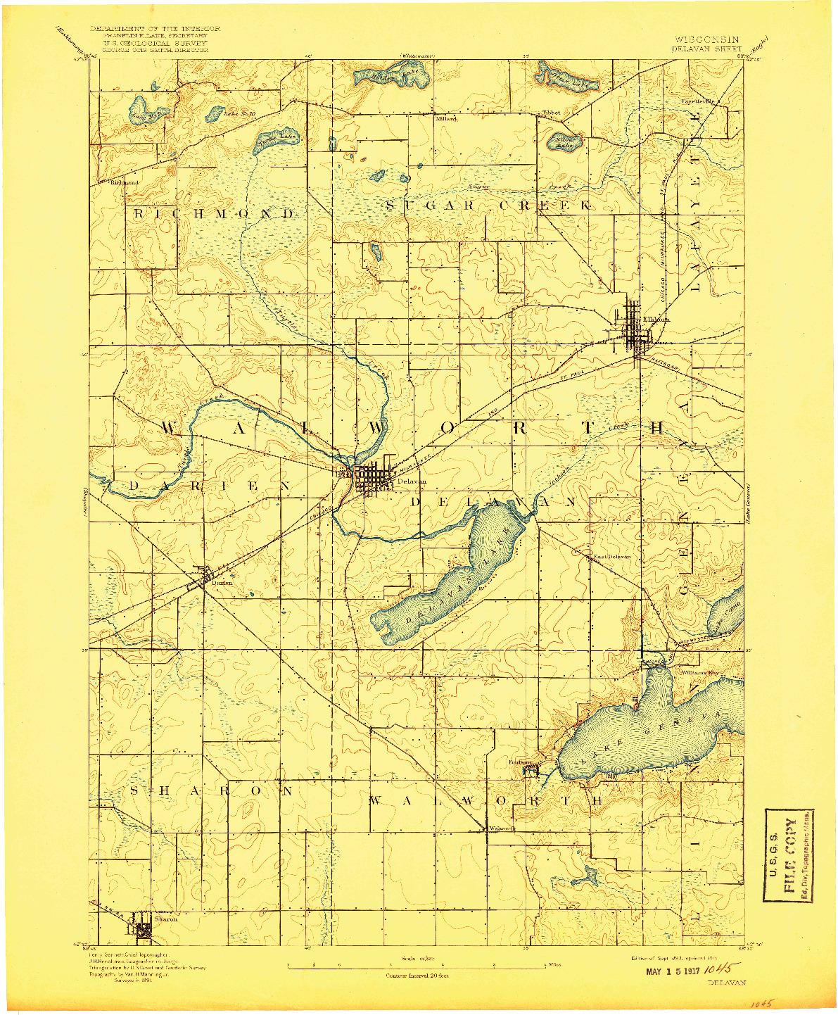 USGS 1:62500-SCALE QUADRANGLE FOR DELAVAN, WI 1893