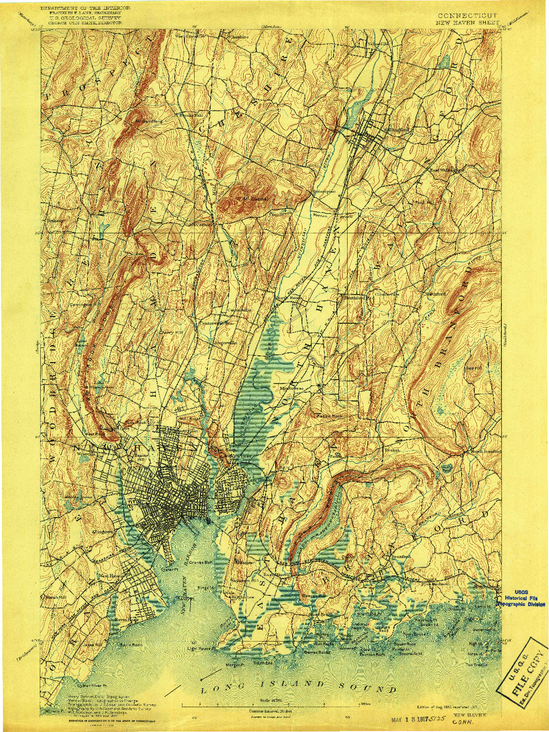 USGS 1:62500-SCALE QUADRANGLE FOR NEW HAVEN, CT 1892