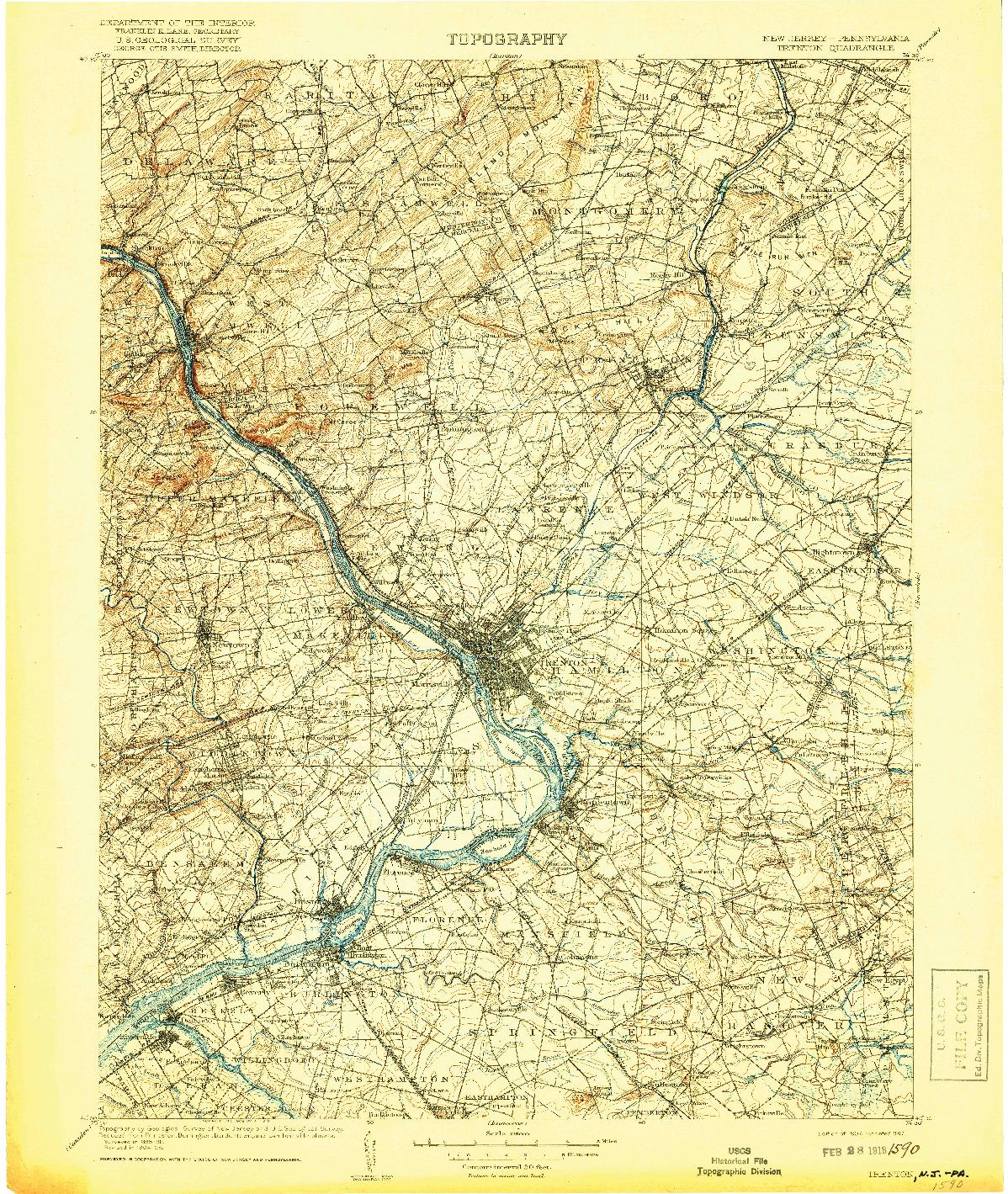 USGS 1:125000-SCALE QUADRANGLE FOR TRENTON, NJ 1907