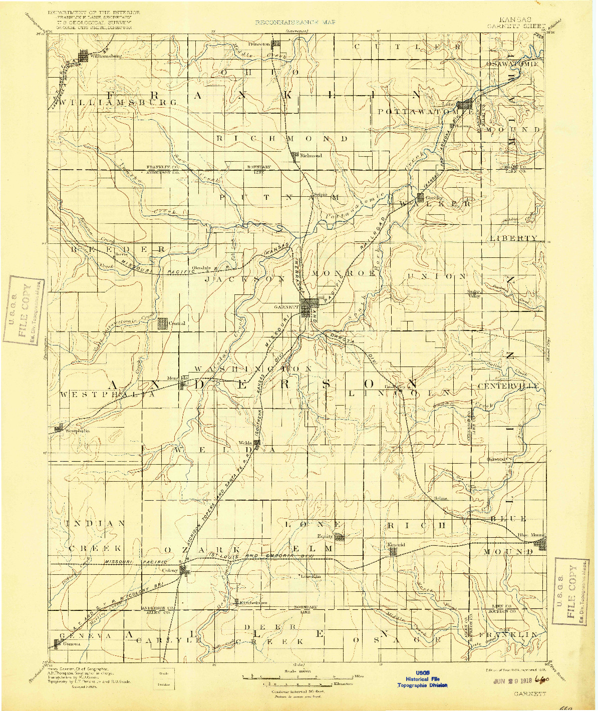 USGS 1:125000-SCALE QUADRANGLE FOR GARNETT, KS 1894