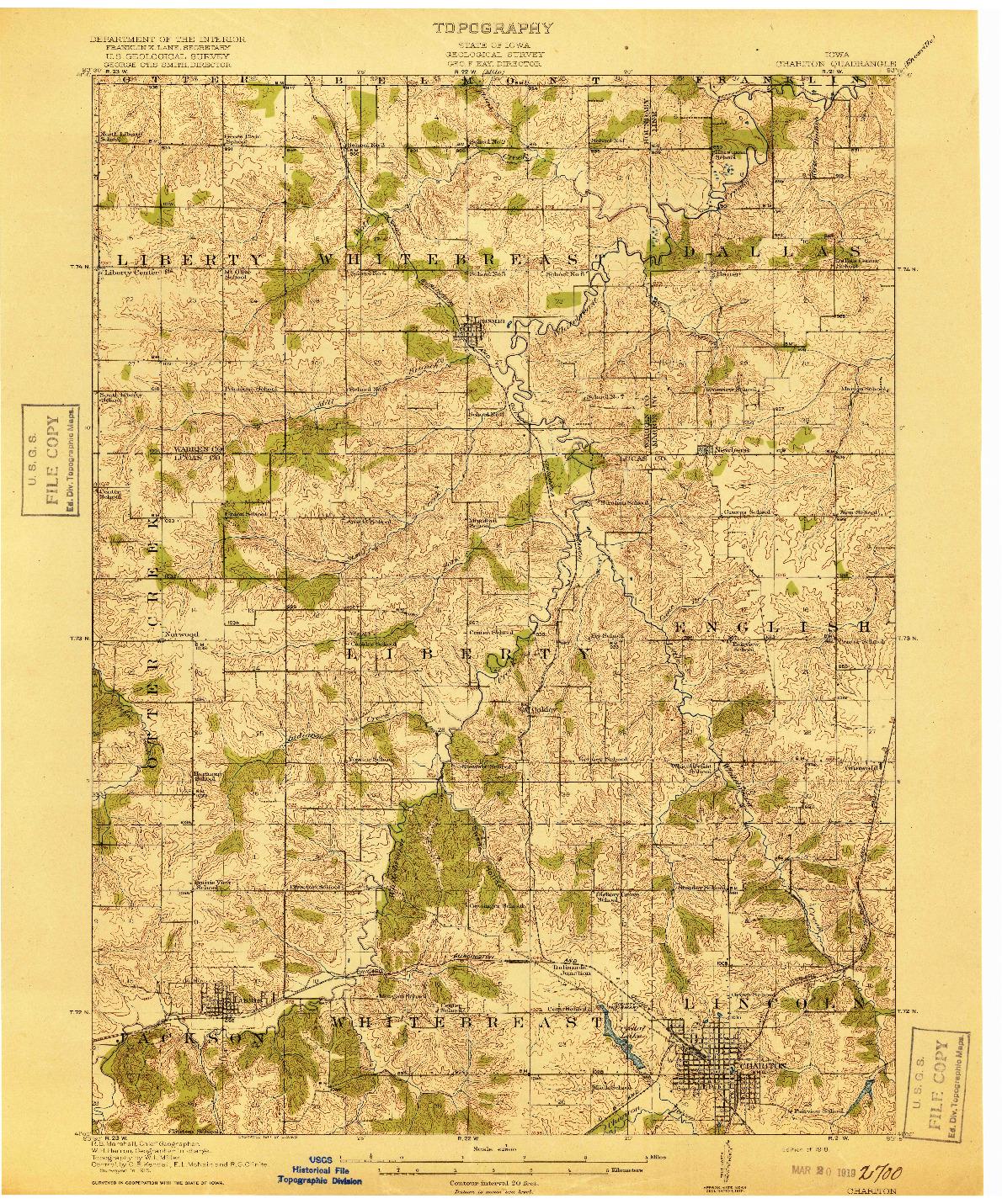 USGS 1:62500-SCALE QUADRANGLE FOR CHARITON, IA 1918