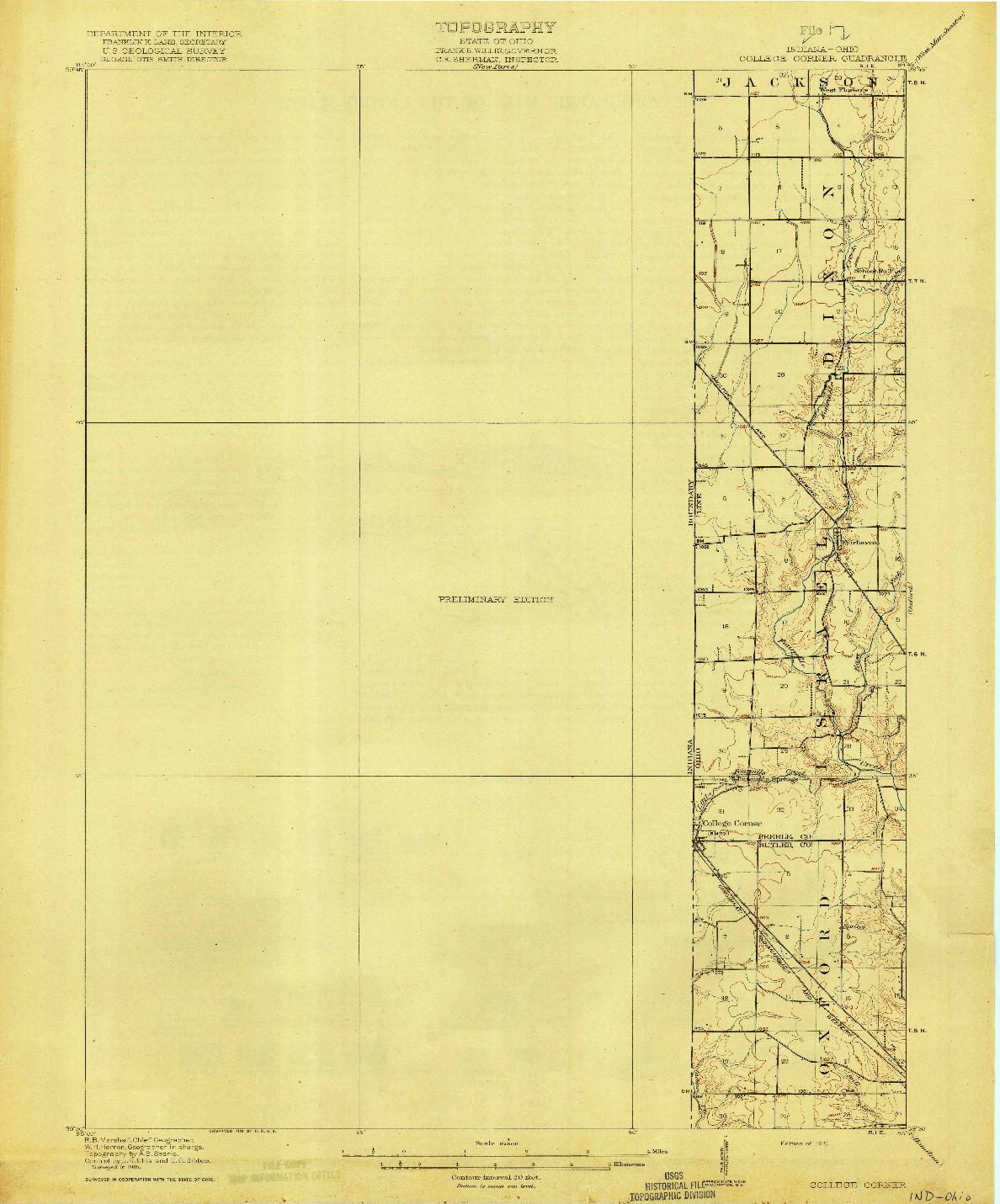 USGS 1:62500-SCALE QUADRANGLE FOR COLLEGE CORNER, IN 1918