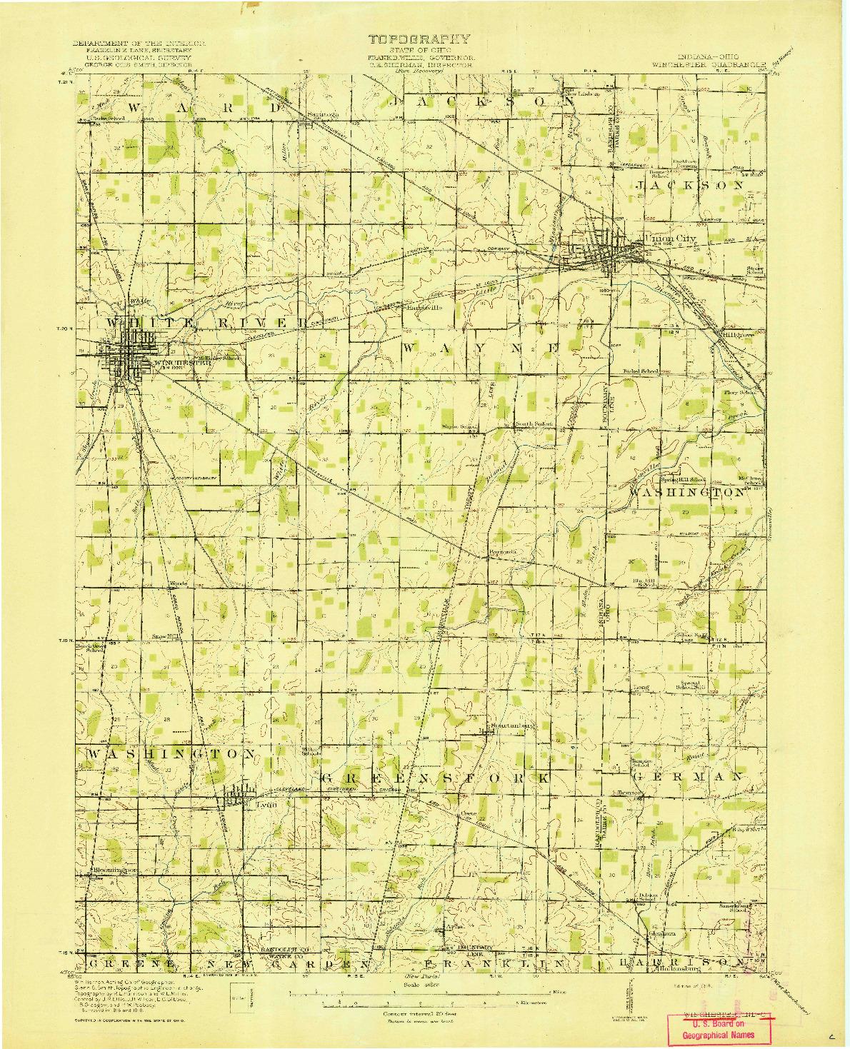 USGS 1:62500-SCALE QUADRANGLE FOR WINCHESTER, IN 1918