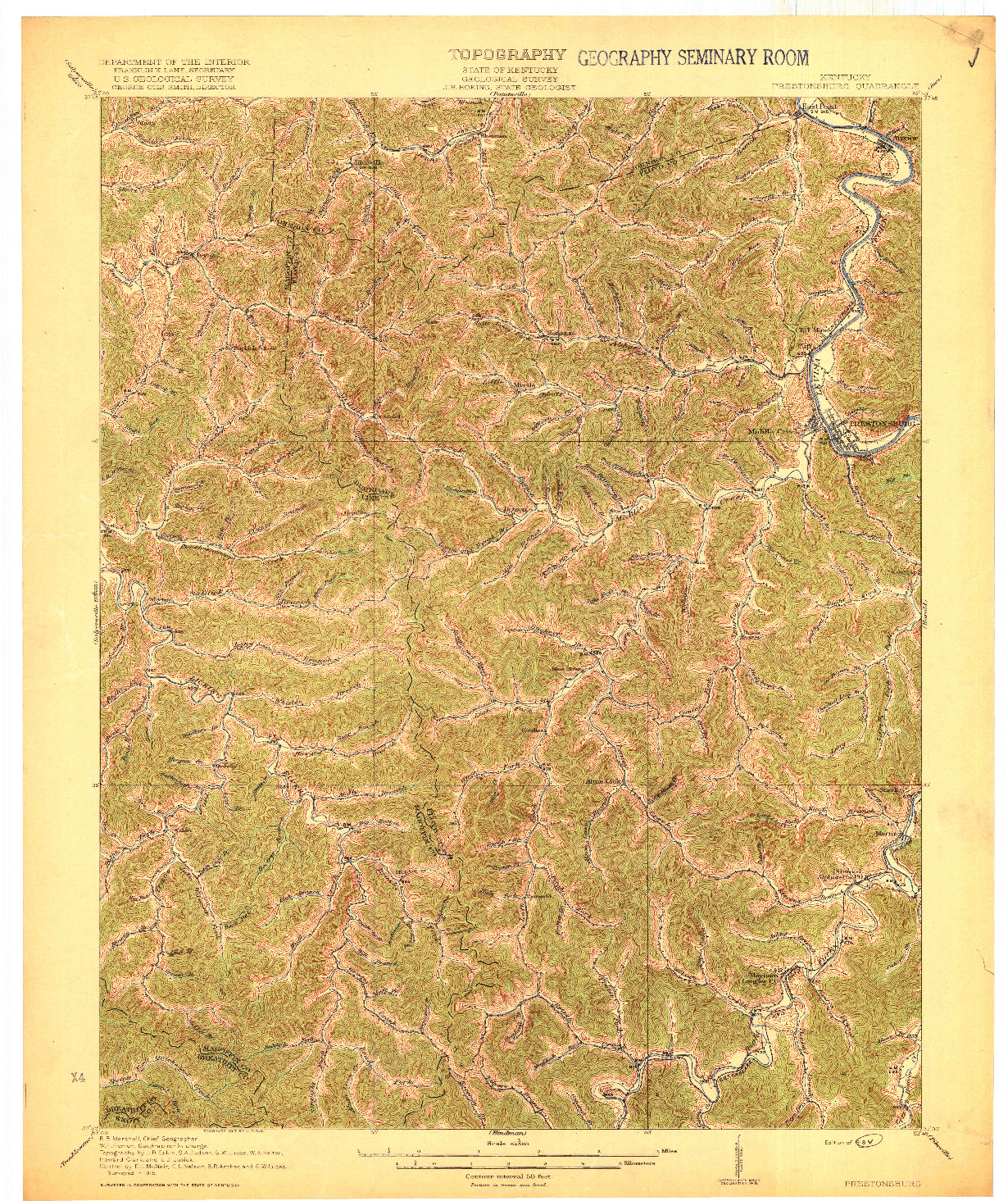USGS 1:62500-SCALE QUADRANGLE FOR PRESTONSBURG, KY 1918