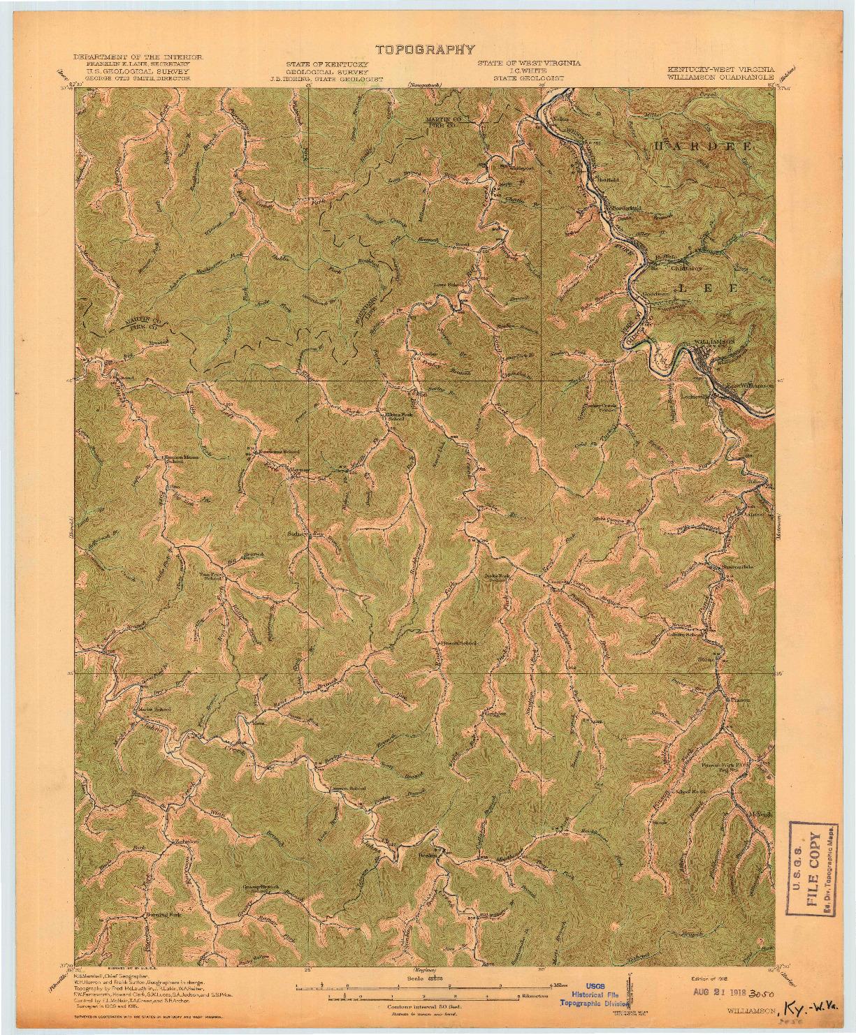 USGS 1:62500-SCALE QUADRANGLE FOR WILLIAMSON, KY 1918