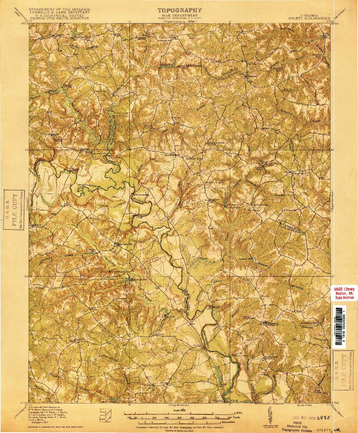 USGS 1:62500-SCALE QUADRANGLE FOR AYLETT, VA 1918