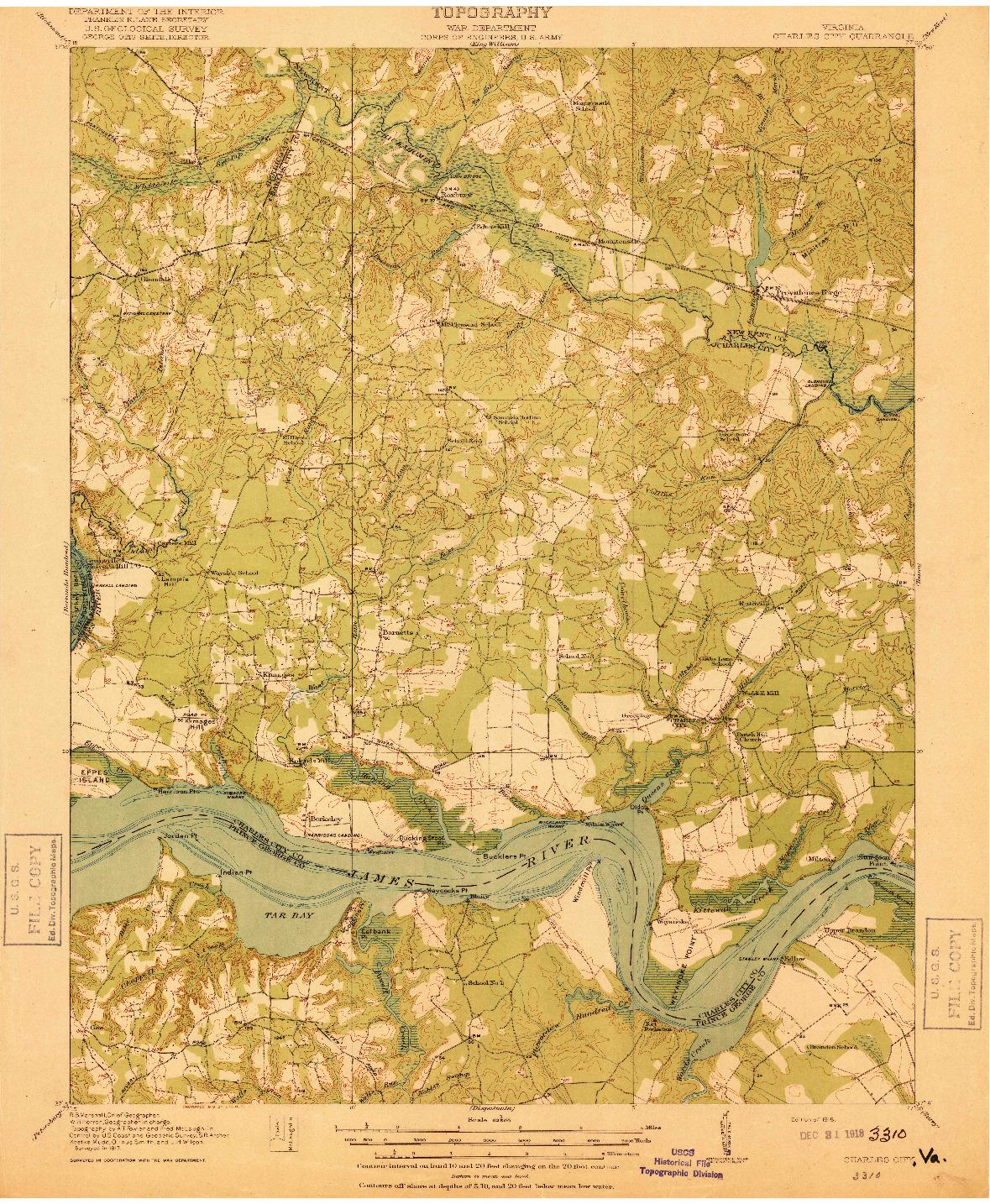 USGS 1:62500-SCALE QUADRANGLE FOR CHARLES CITY, VA 1918