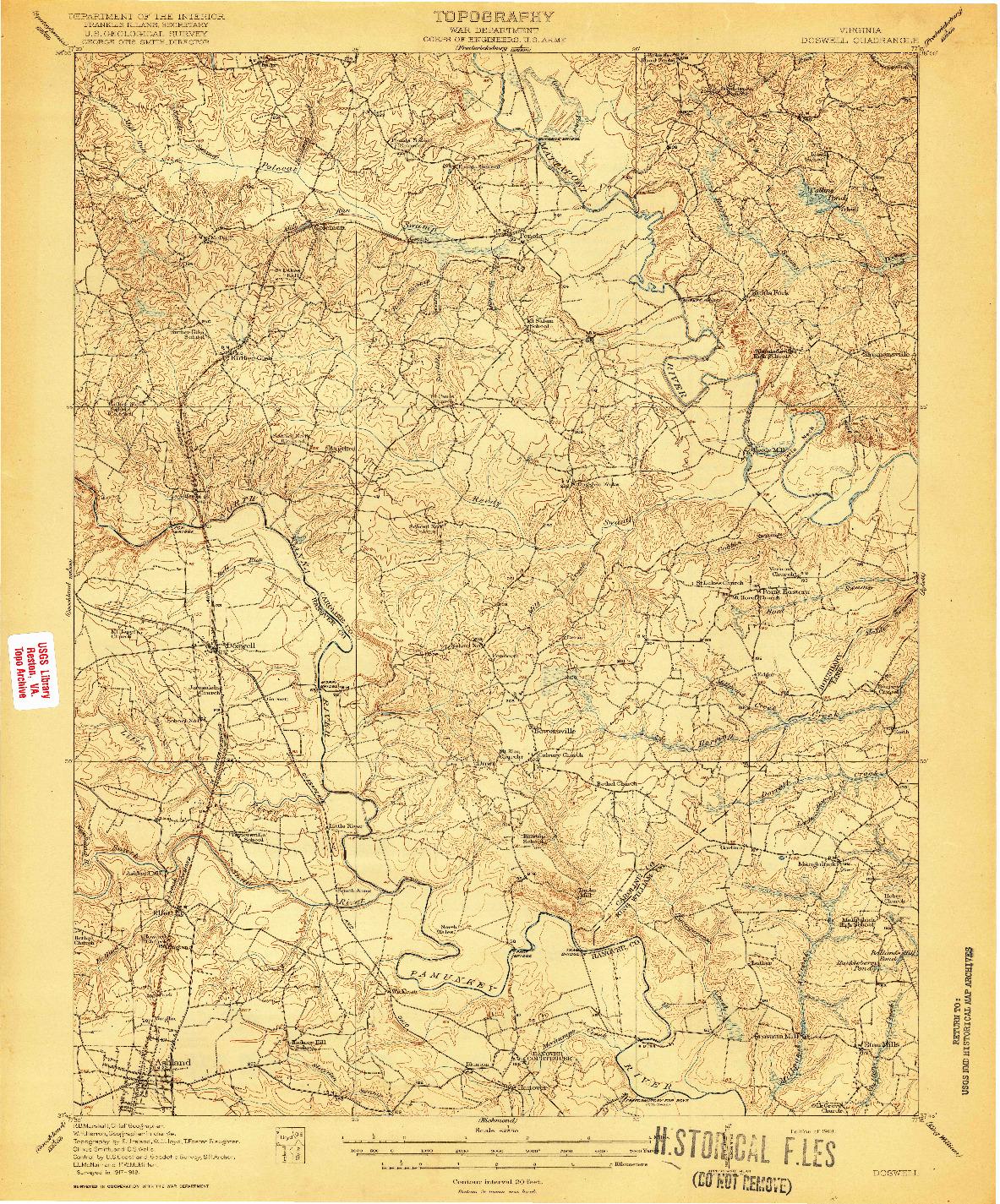 USGS 1:62500-SCALE QUADRANGLE FOR DOSWELL, VA 1918