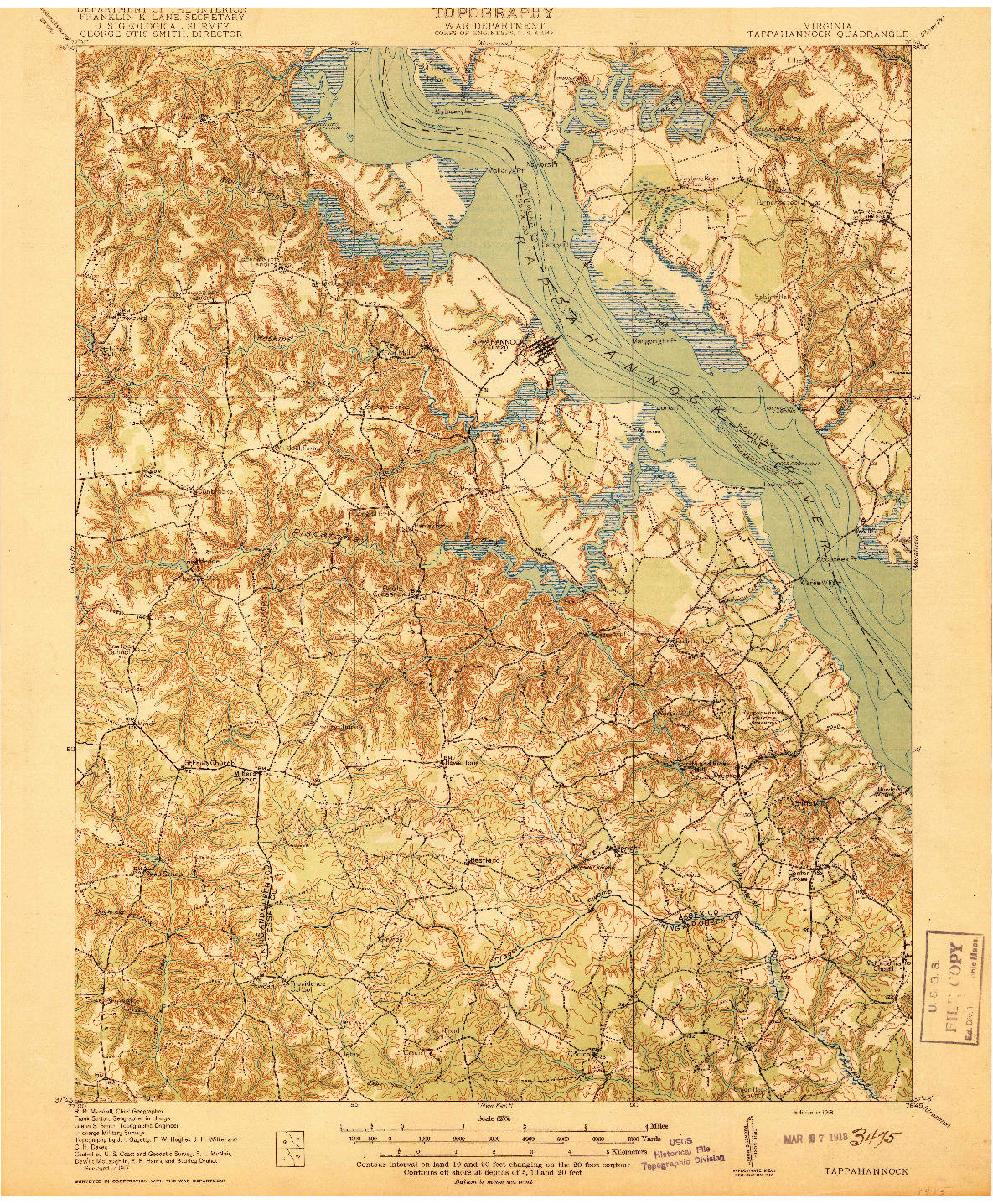 USGS 1:62500-SCALE QUADRANGLE FOR TAPPAHANNOCK, VA 1918