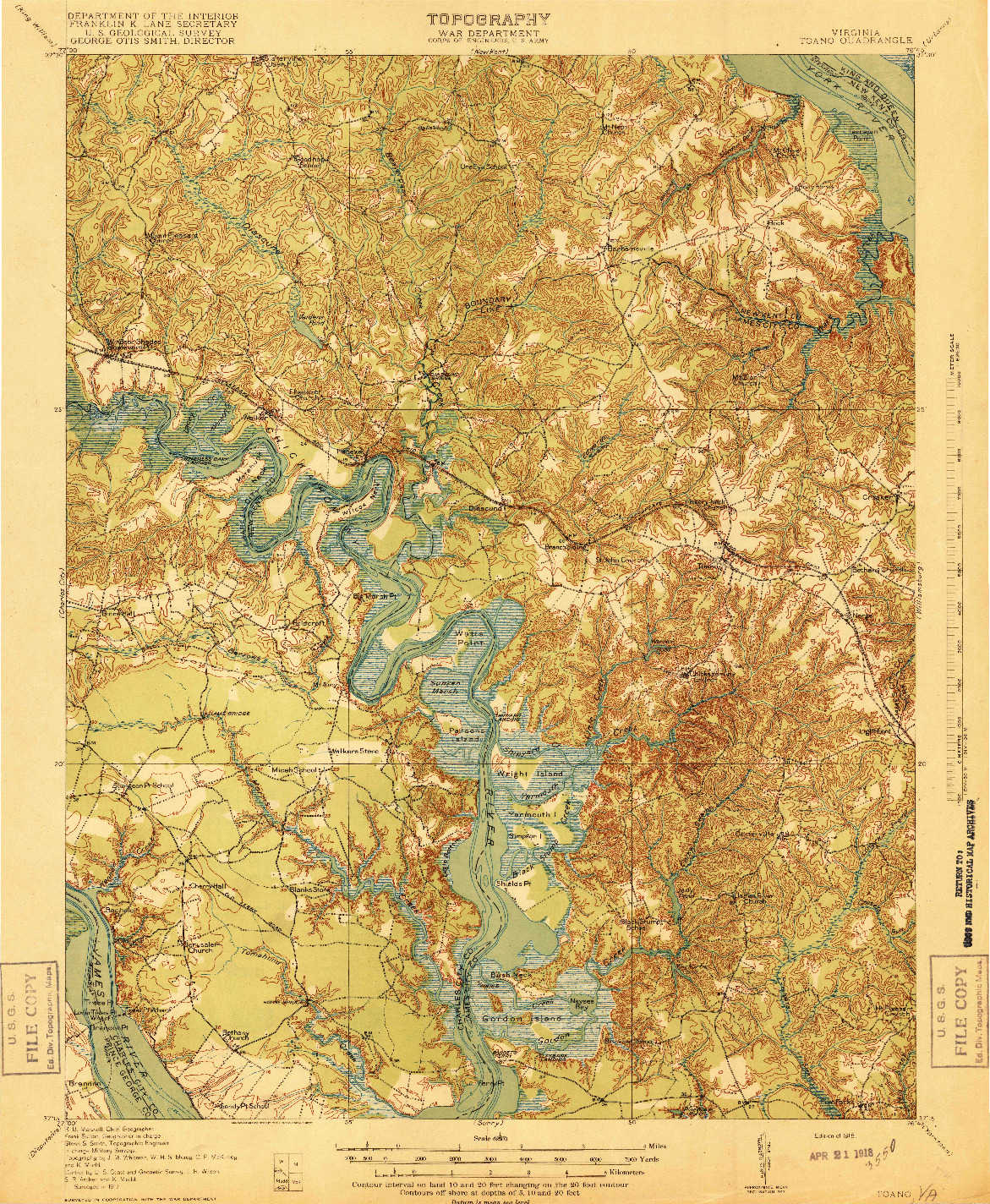 USGS 1:62500-SCALE QUADRANGLE FOR TOANO, VA 1918
