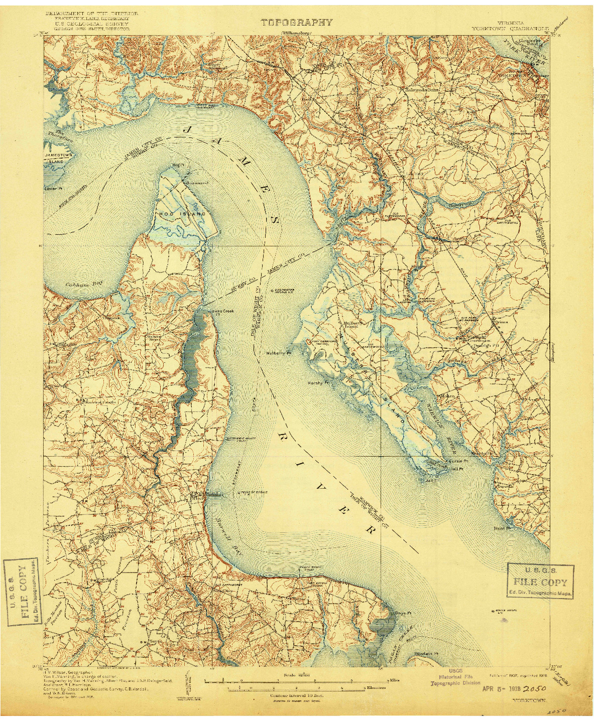 USGS 1:62500-SCALE QUADRANGLE FOR YORKTOWN, VA 1907