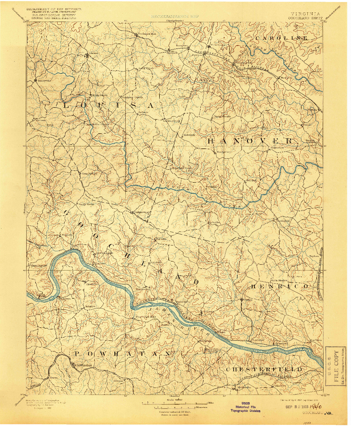 USGS 1:125000-SCALE QUADRANGLE FOR GOOCHLAND, VA 1892