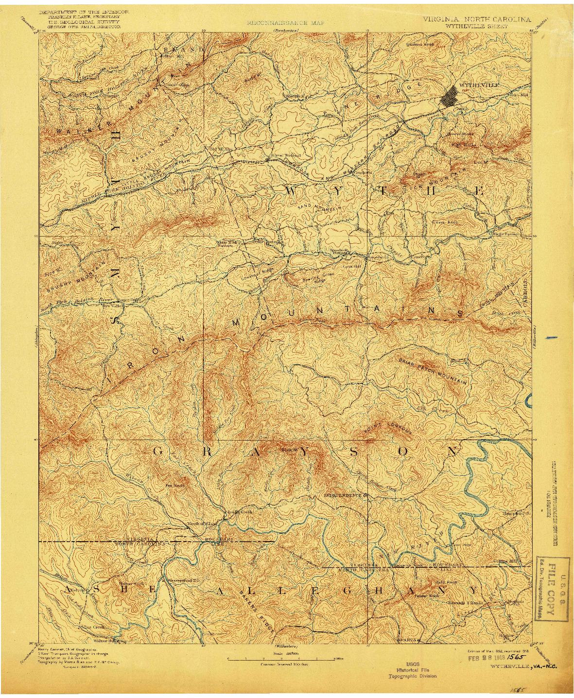 USGS 1:125000-SCALE QUADRANGLE FOR WYTHEVILLE, VA 1892