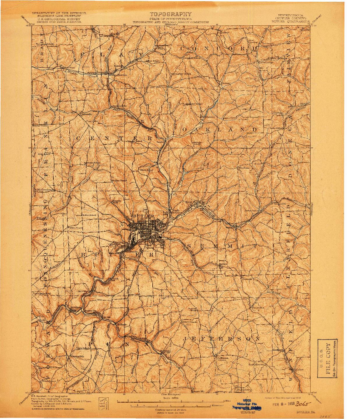 USGS 1:62500-SCALE QUADRANGLE FOR BUTLER, PA 1911
