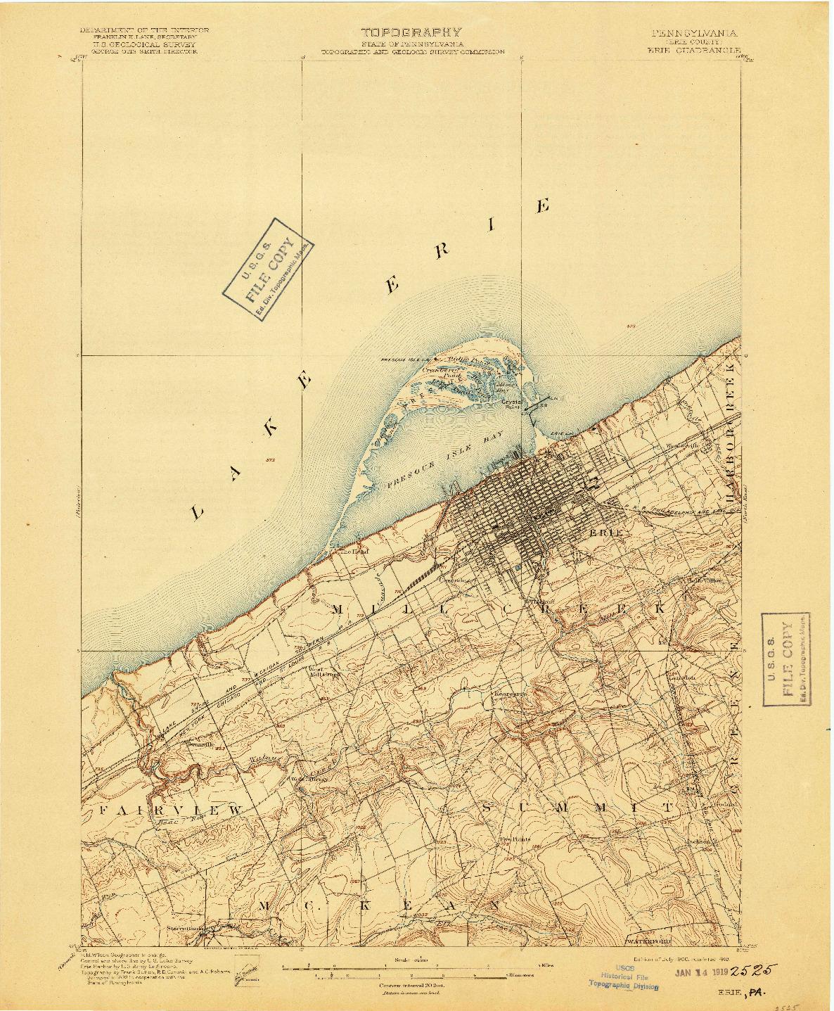 USGS 1:62500-SCALE QUADRANGLE FOR ERIE, PA 1900