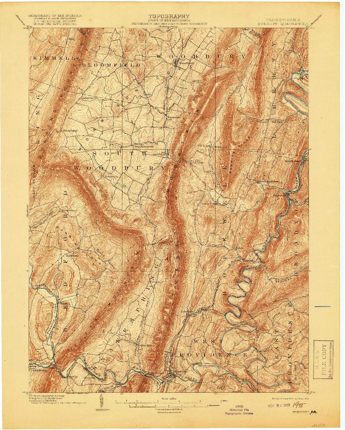 USGS 1:62500-SCALE QUADRANGLE FOR EVERETT, PA 1902