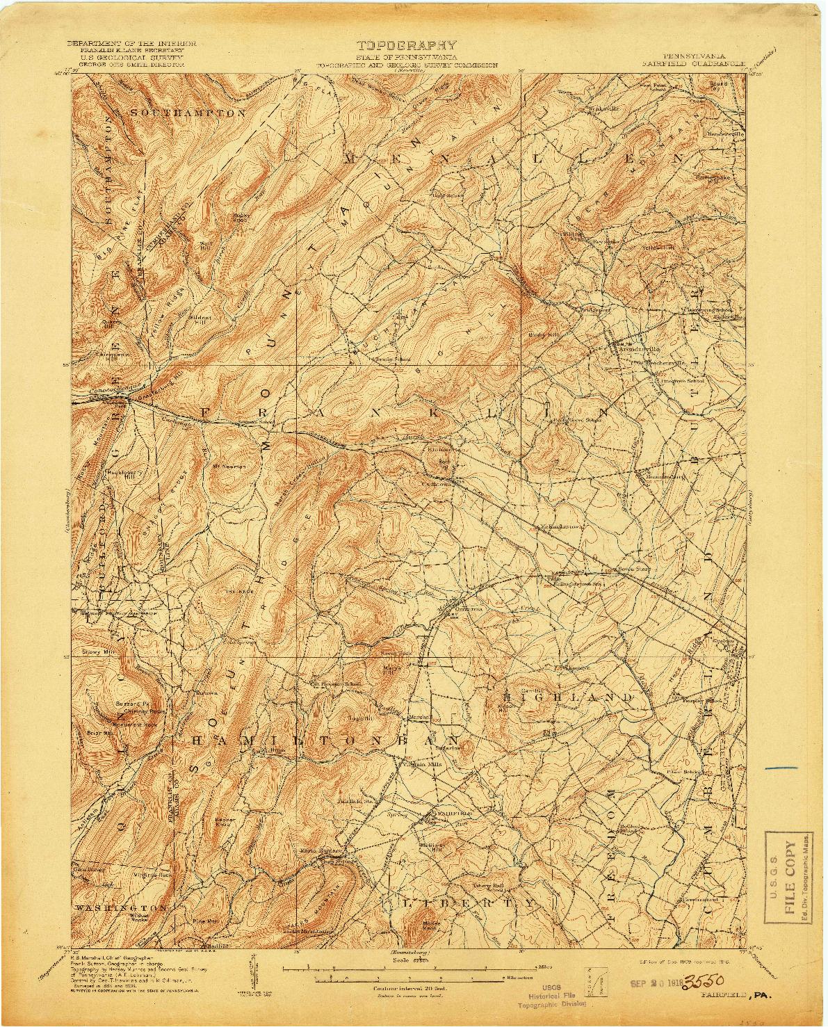 USGS 1:62500-SCALE QUADRANGLE FOR FAIRFIELD, PA 1909