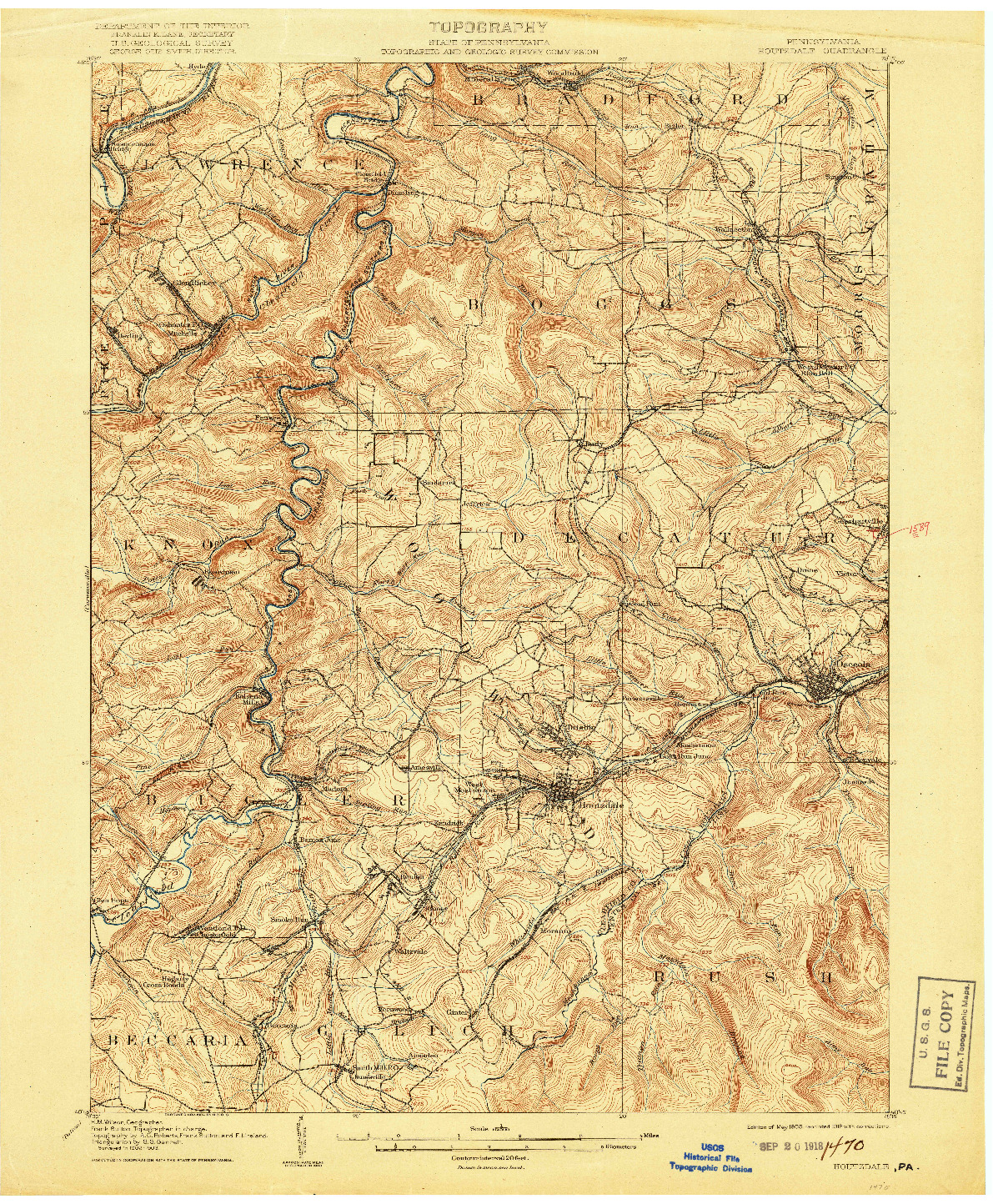 USGS 1:62500-SCALE QUADRANGLE FOR HOUTZDALE, PA 1905