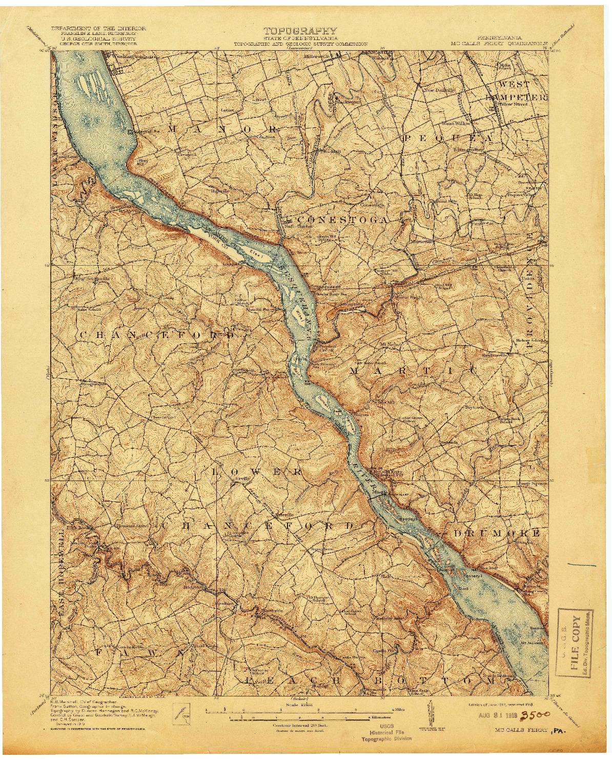 USGS 1:62500-SCALE QUADRANGLE FOR MC CALLS FERRY, PA 1912