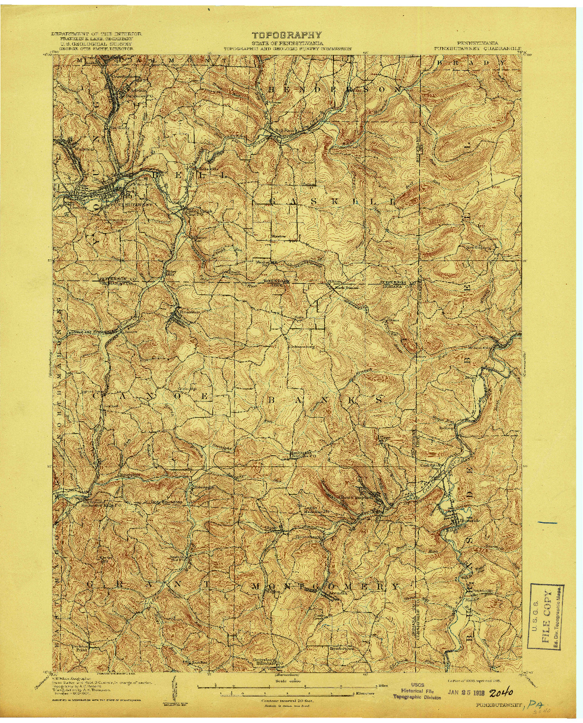 USGS 1:62500-SCALE QUADRANGLE FOR PUNXSUTAWNEY, PA 1906