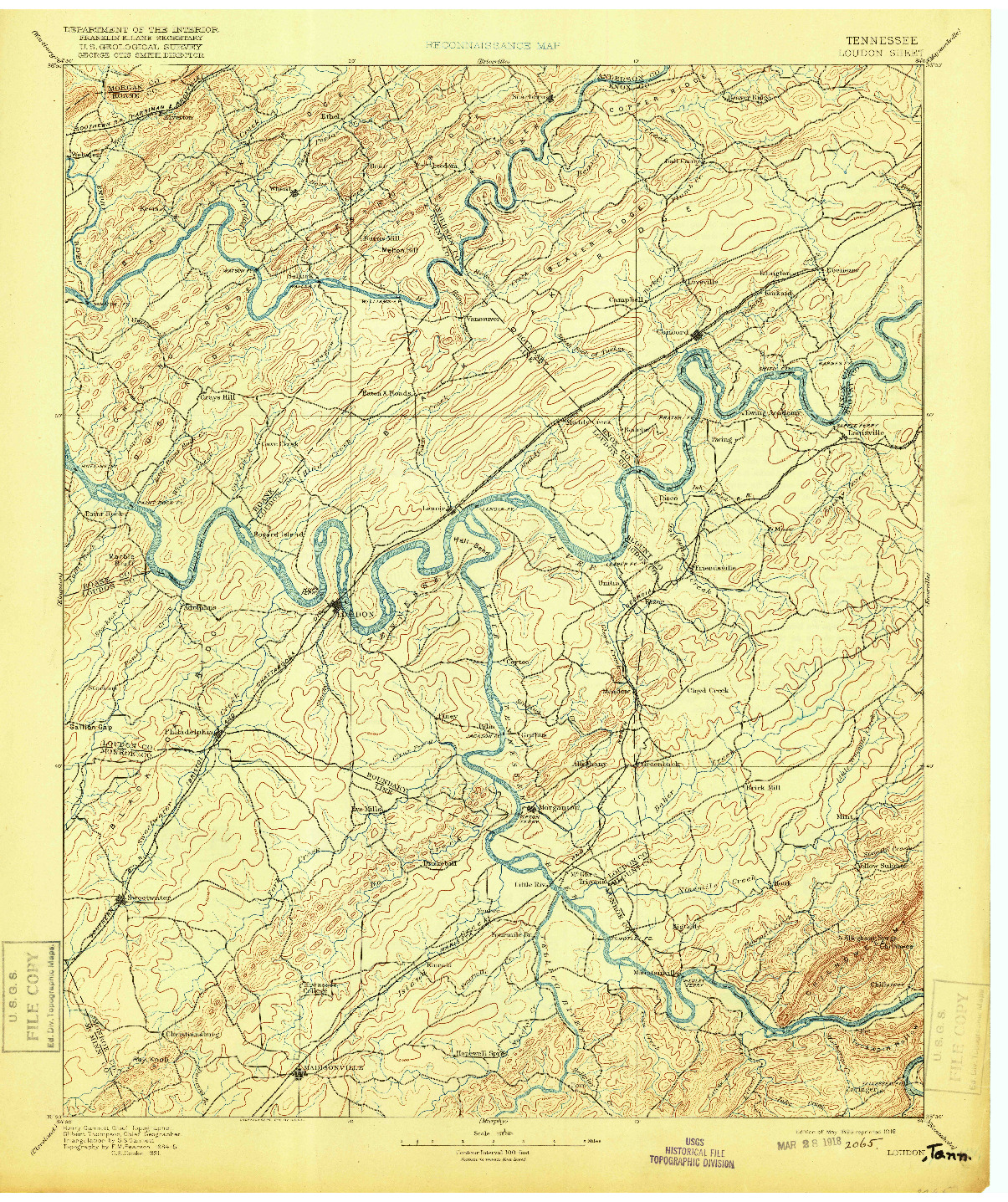 USGS 1:125000-SCALE QUADRANGLE FOR LOUDON, TN 1895