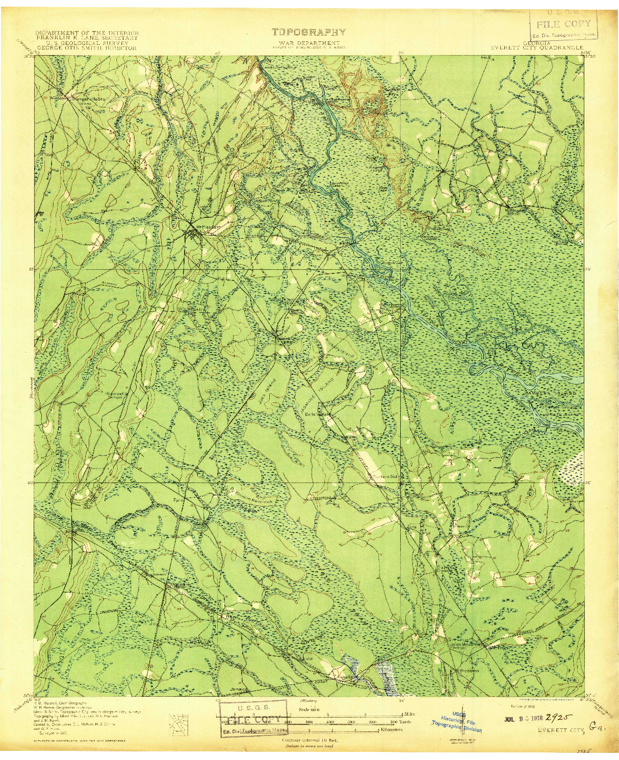 USGS 1:62500-SCALE QUADRANGLE FOR EVERETT, GA 1918