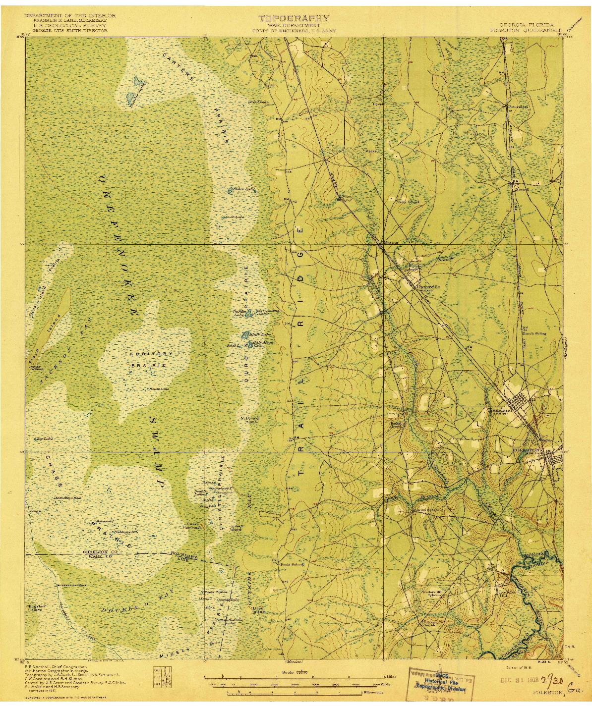USGS 1:62500-SCALE QUADRANGLE FOR FOLKSTON, GA 1918