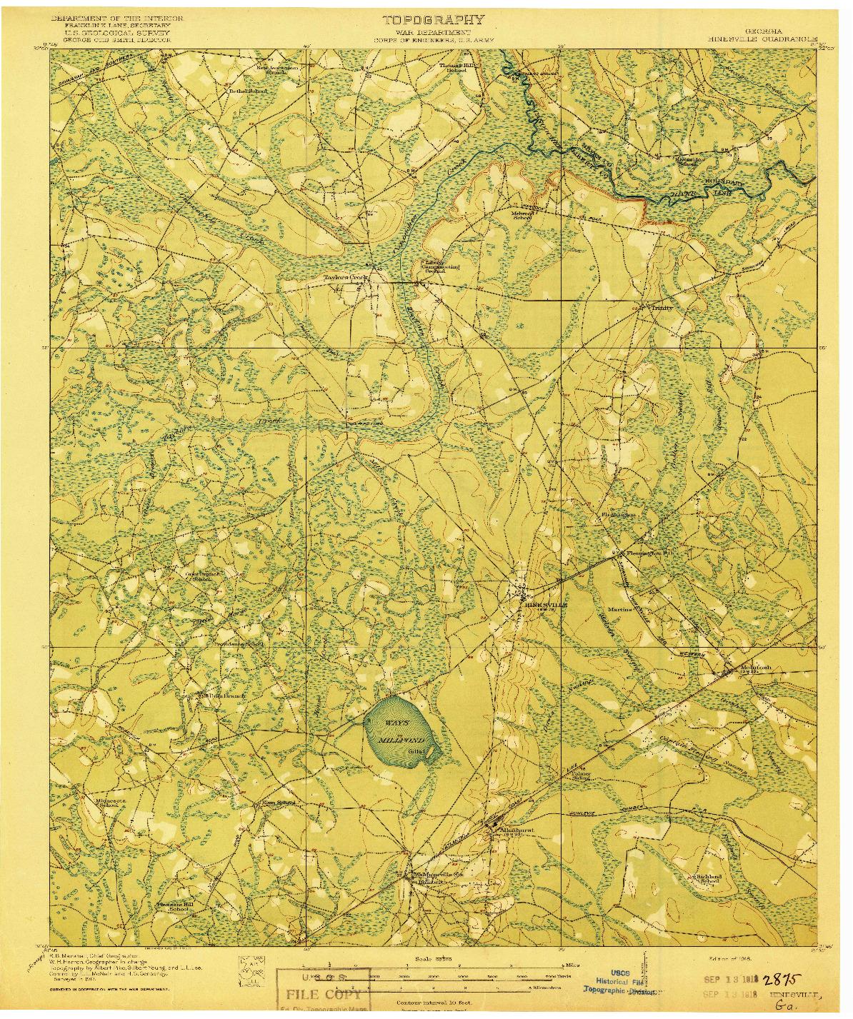 USGS 1:62500-SCALE QUADRANGLE FOR HINESVILLE, GA 1918