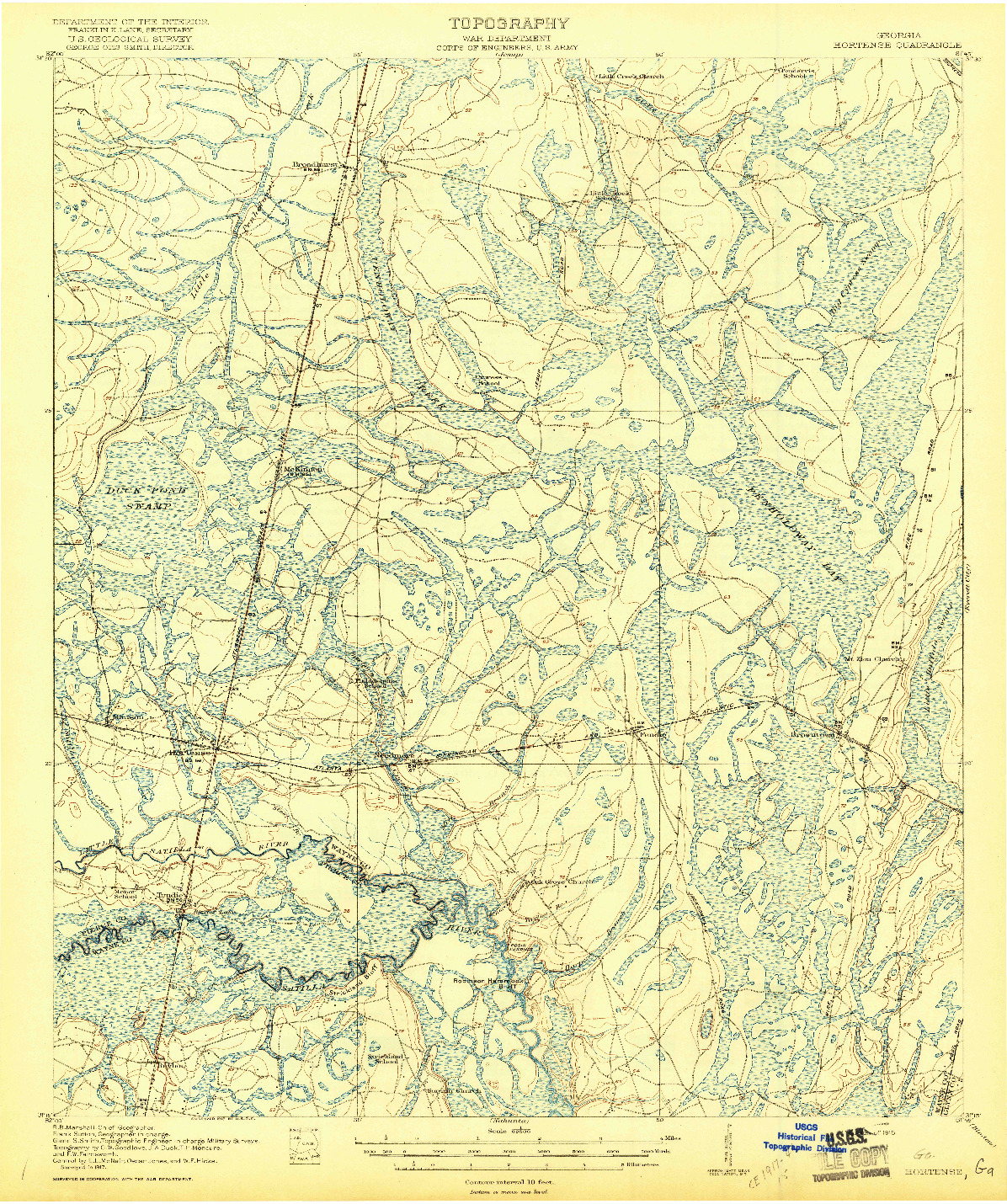 USGS 1:62500-SCALE QUADRANGLE FOR HORTENSE, GA 1918
