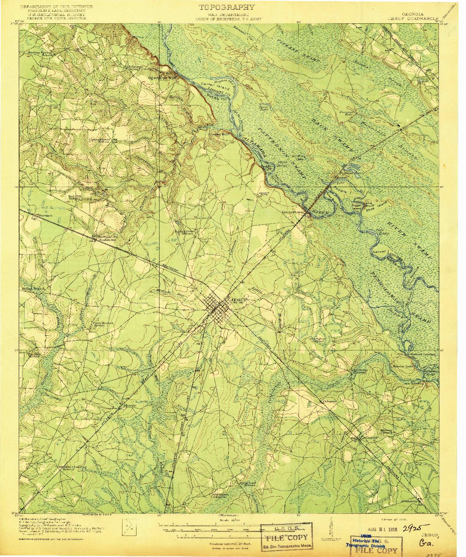 USGS 1:62500-SCALE QUADRANGLE FOR JESUP, GA 1918
