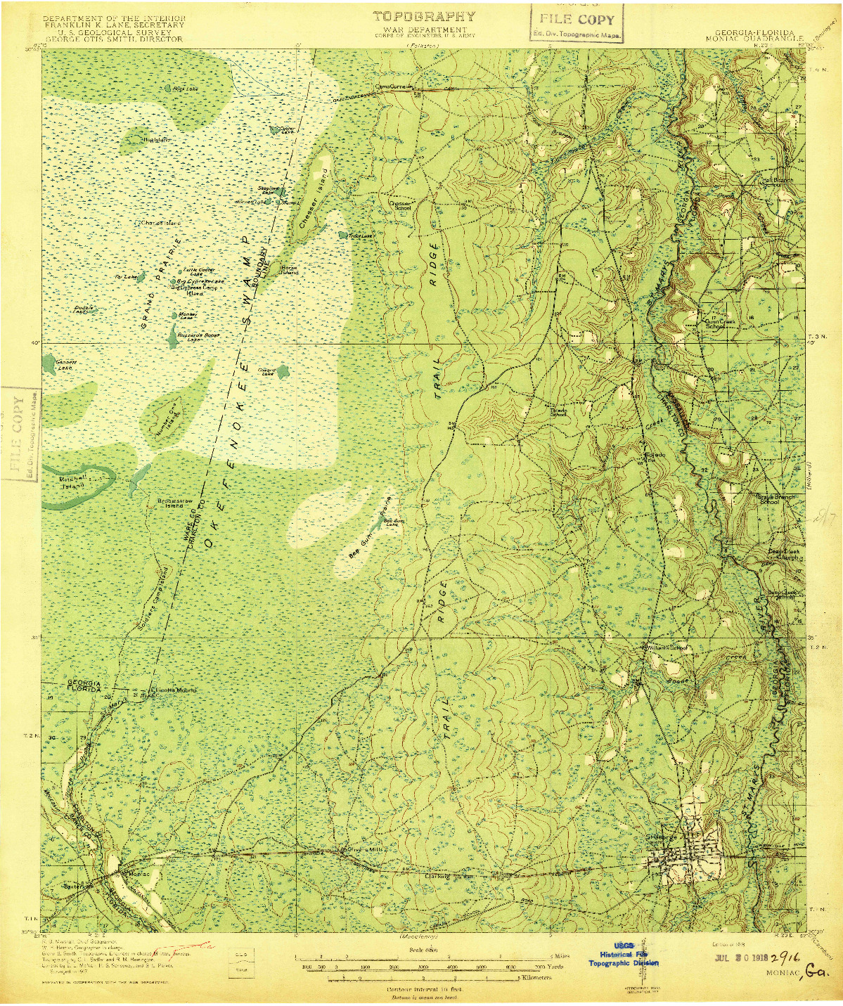 USGS 1:62500-SCALE QUADRANGLE FOR MONIAC, GA 1918