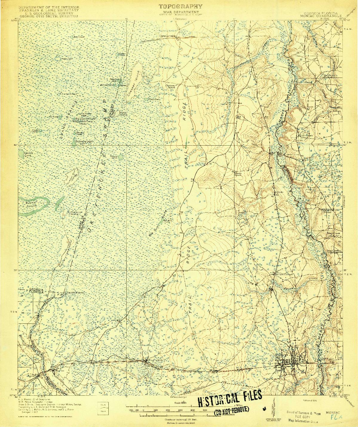 USGS 1:62500-SCALE QUADRANGLE FOR MONIAC, GA 1918