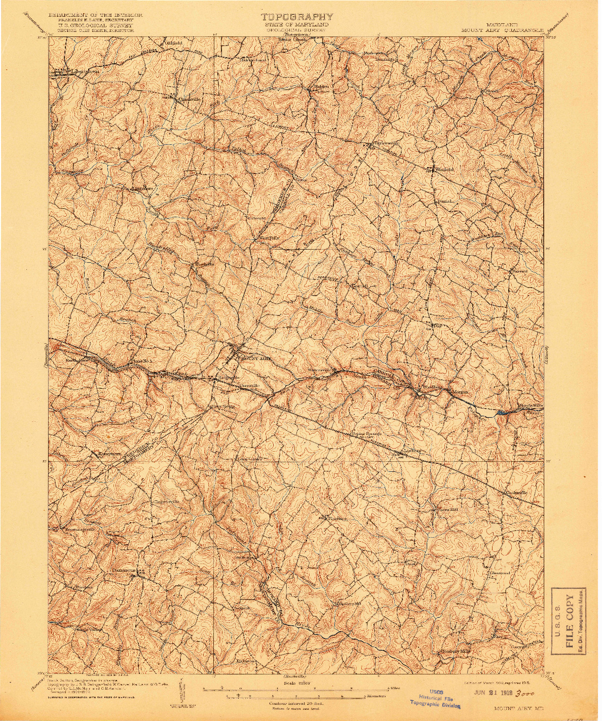 USGS 1:62500-SCALE QUADRANGLE FOR MOUNT AIRY, MD 1909