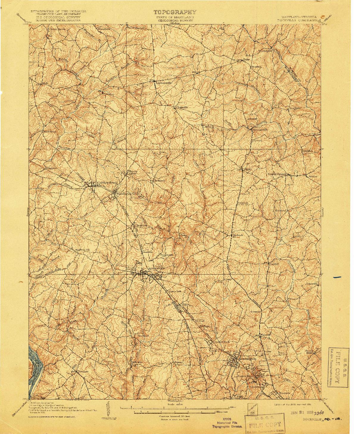 USGS 1:62500-SCALE QUADRANGLE FOR ROCKVILLE, MD 1908