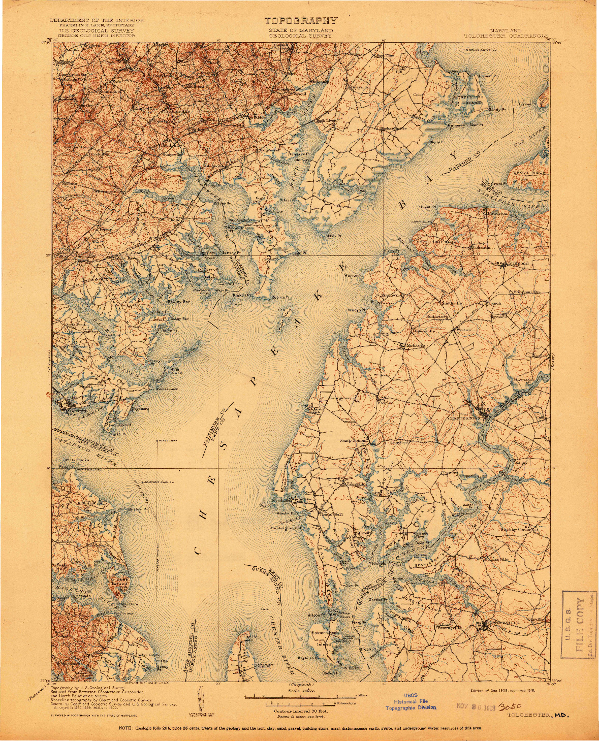 USGS 1:125000-SCALE QUADRANGLE FOR TOLCHESTER, MD 1908