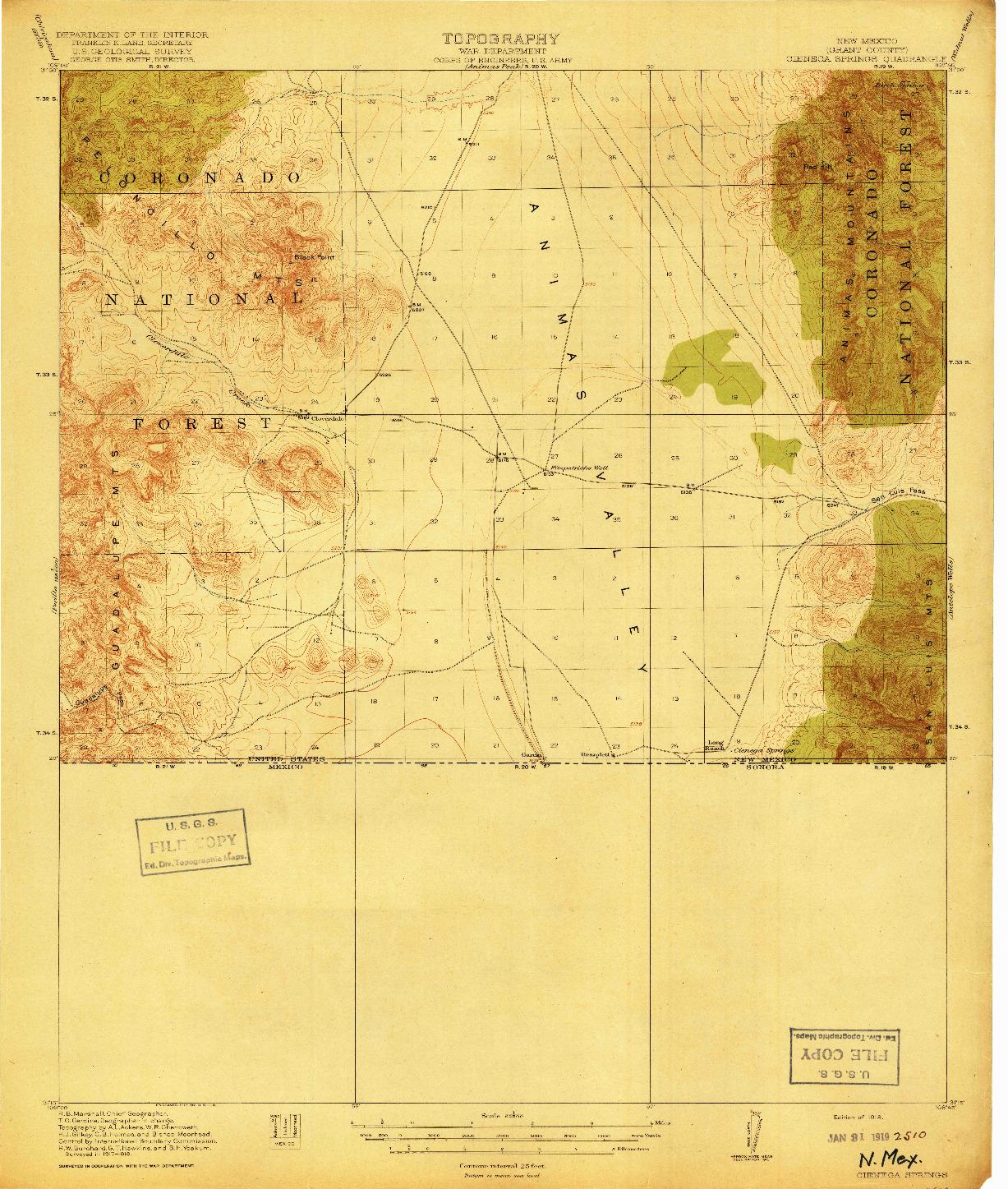 USGS 1:62500-SCALE QUADRANGLE FOR CIENEGA SPRINGS, NM 1918