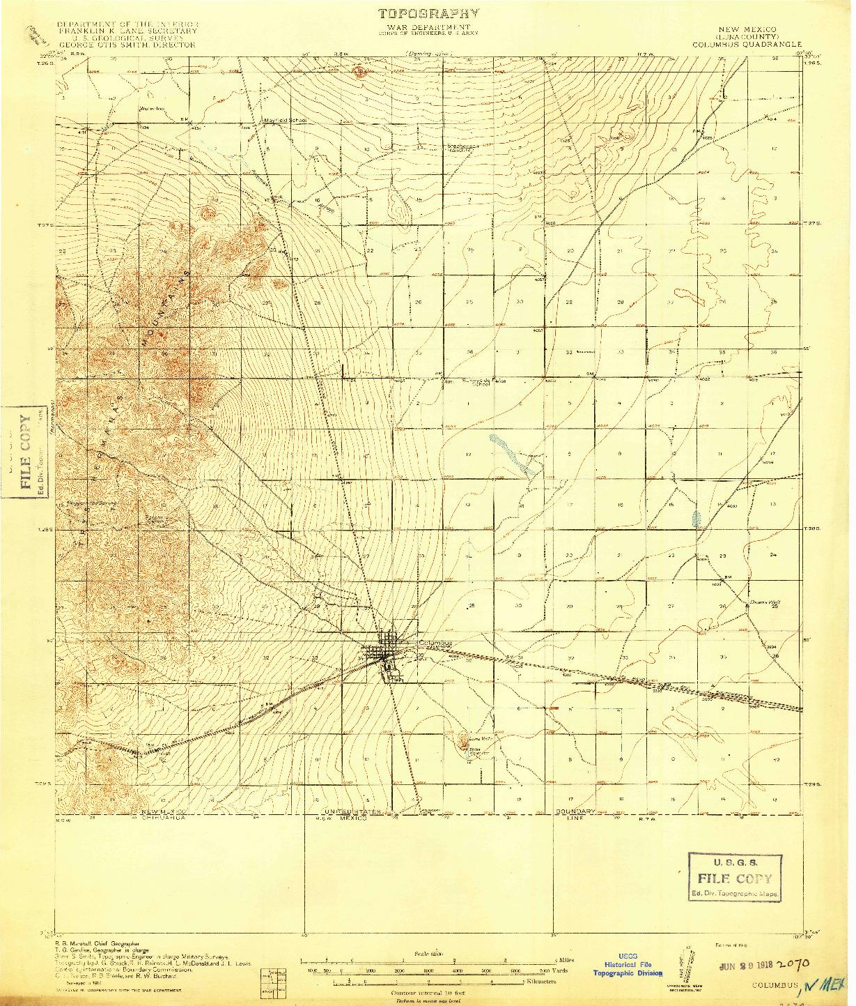 USGS 1:62500-SCALE QUADRANGLE FOR COLUMBUS, NM 1918