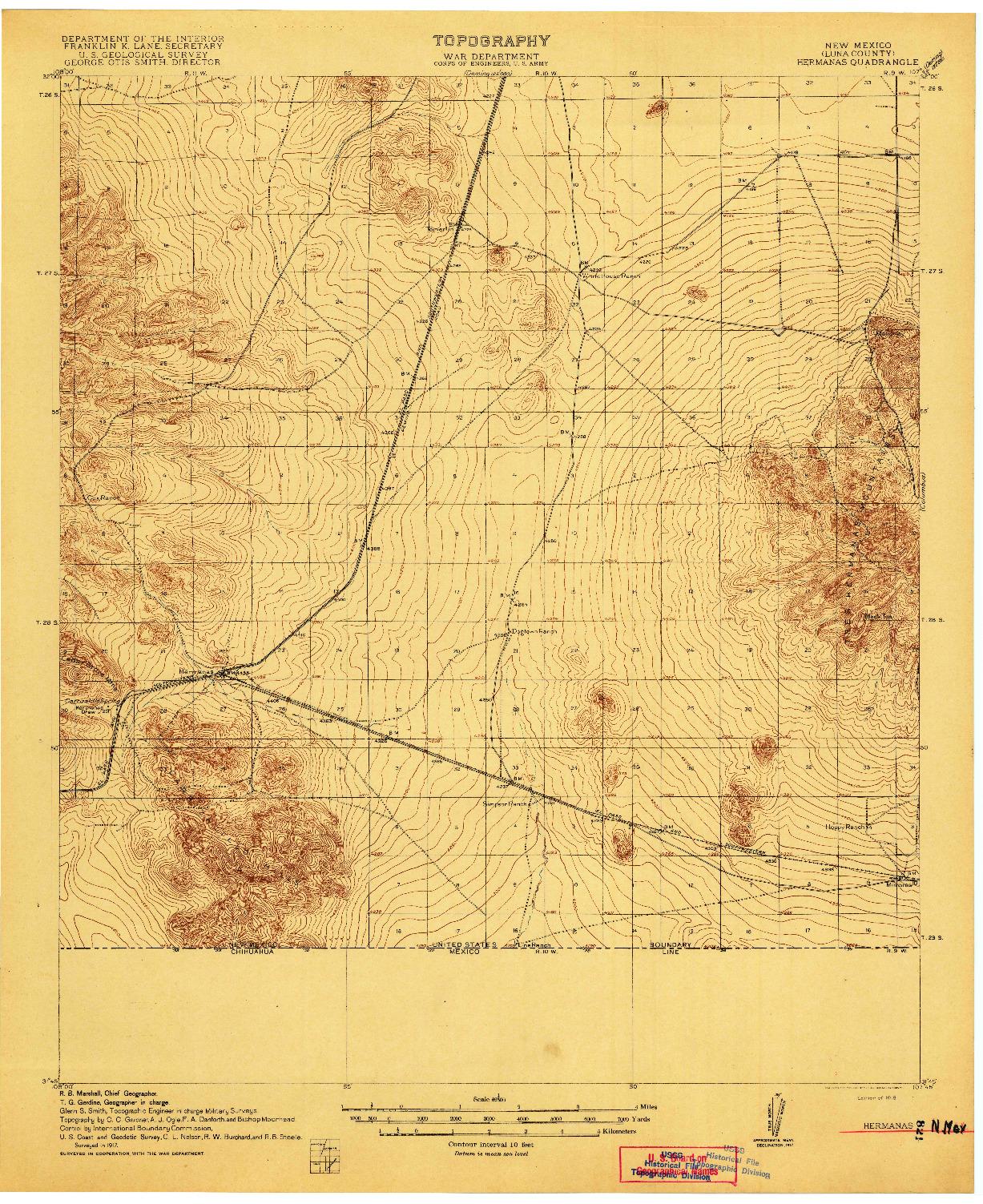 USGS 1:62500-SCALE QUADRANGLE FOR HERMANAS, NM 1918