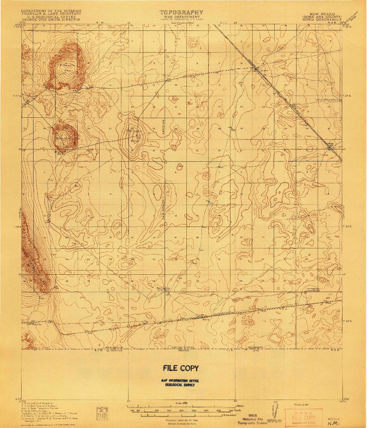 USGS 1:62500-SCALE QUADRANGLE FOR NORIA, NM 1918