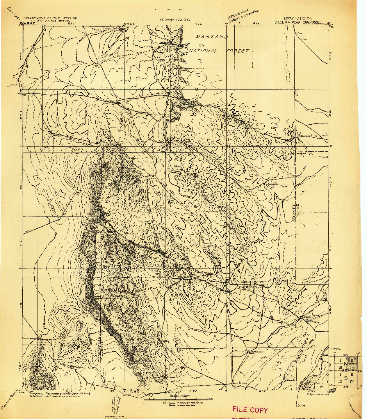 USGS 1:125000-SCALE QUADRANGLE FOR OSCURA PEAK, NM 1918