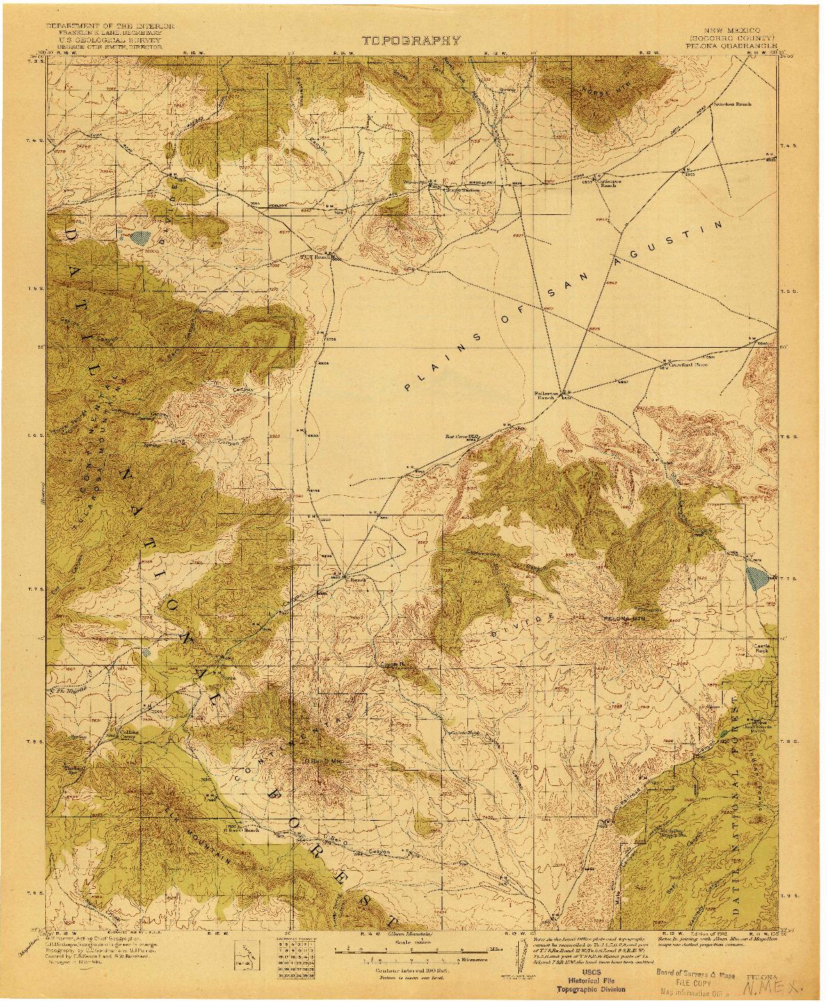 USGS 1:125000-SCALE QUADRANGLE FOR PELONA, NM 1918