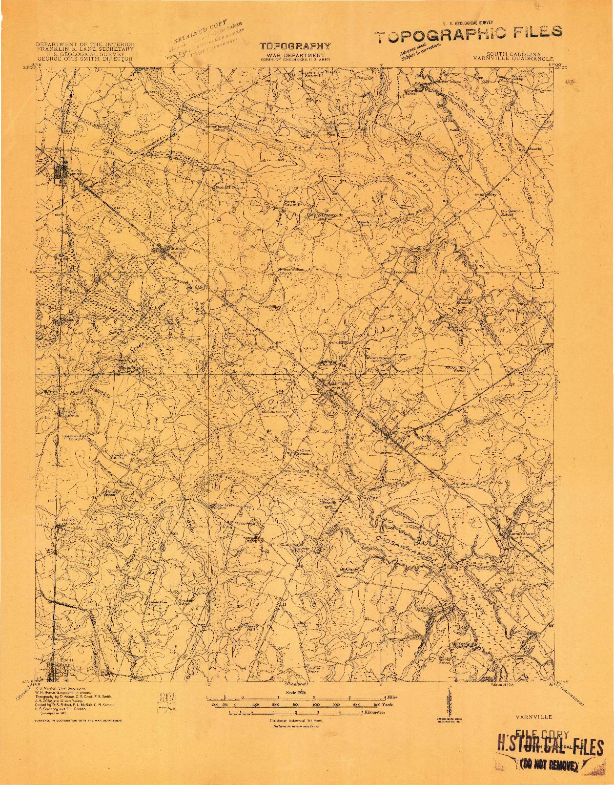 USGS 1:62500-SCALE QUADRANGLE FOR VARNVILLE, SC 1918