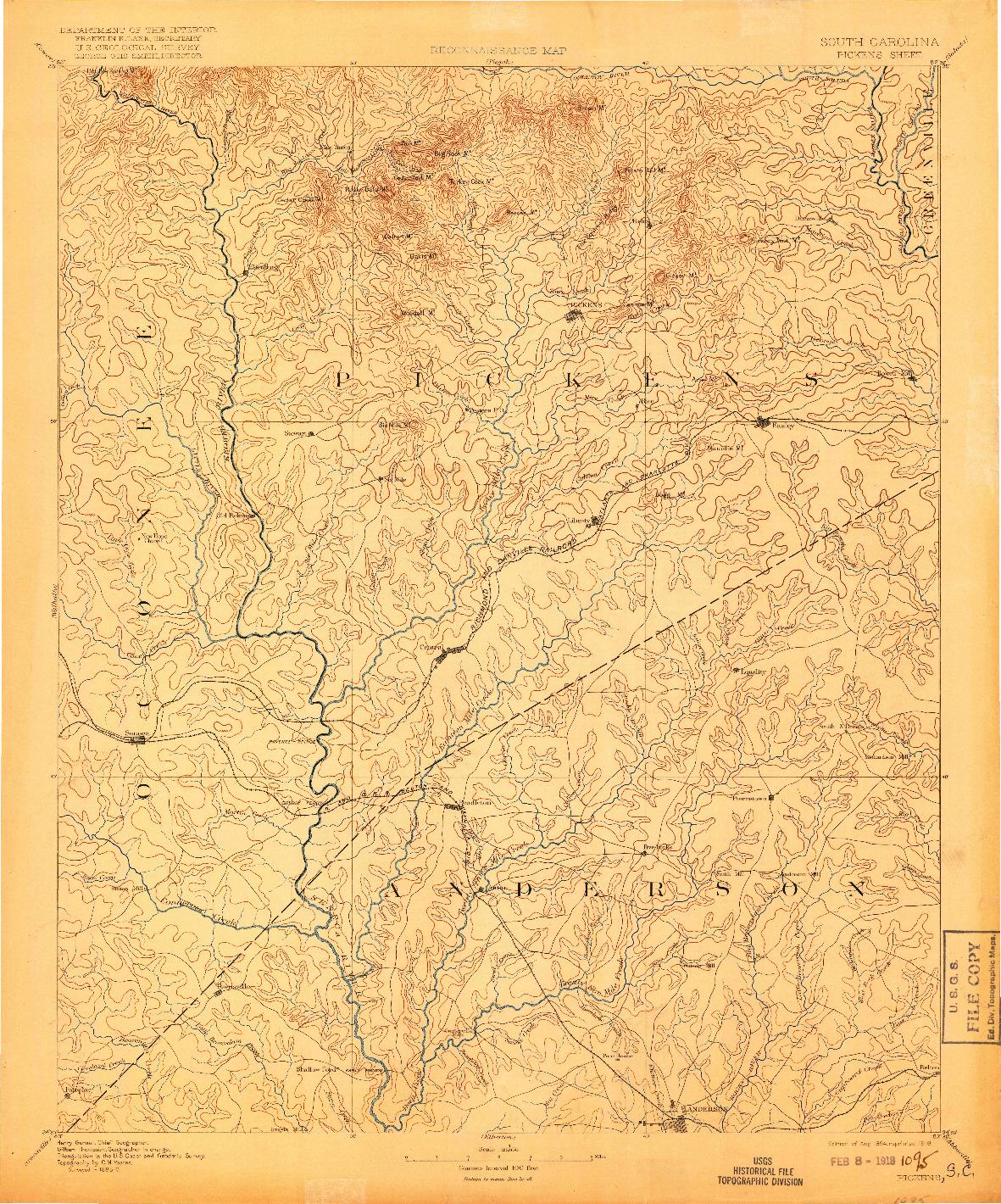USGS 1:125000-SCALE QUADRANGLE FOR PICKENS, SC 1894