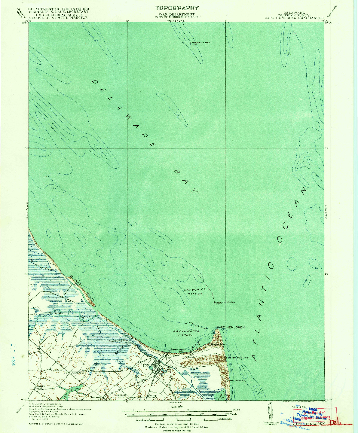 USGS 1:62500-SCALE QUADRANGLE FOR CAPE HENLOPEN, DE 1918